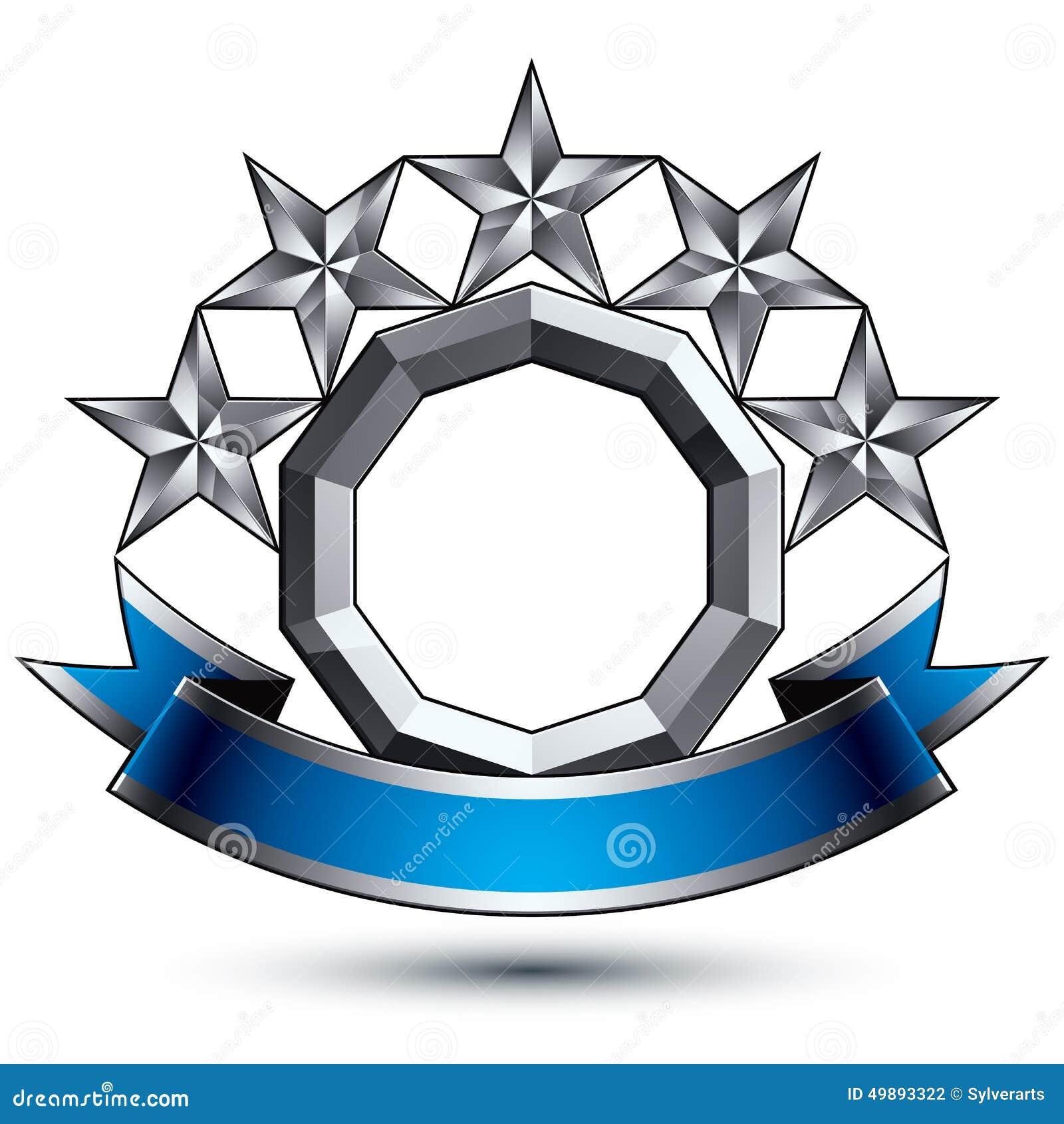 Klassiskt kungligt symbol för vektor 3d, silverstjärnor