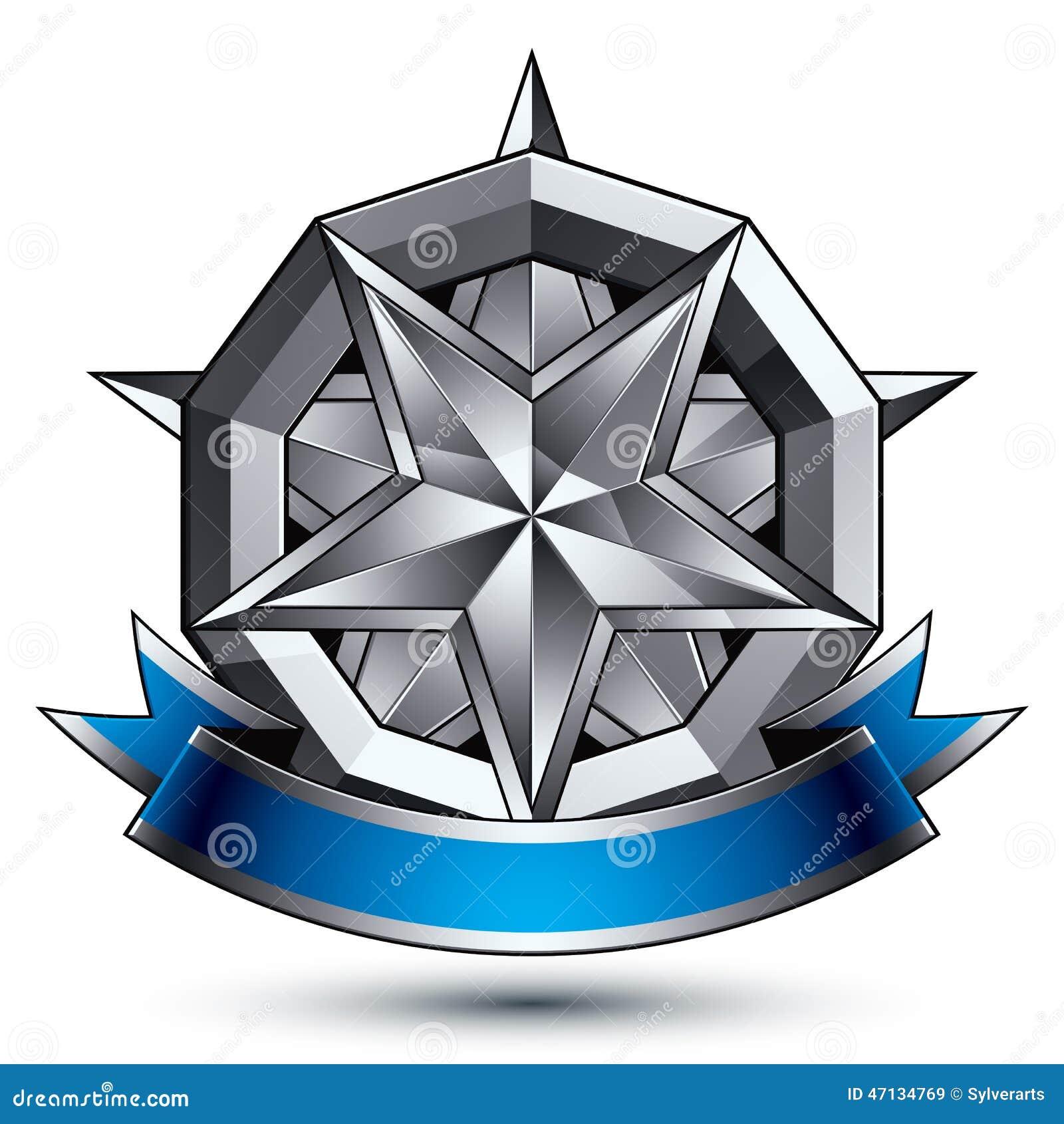 Klassiskt kungligt symbol för vektor 3d, sofistikerad emble silverrunda