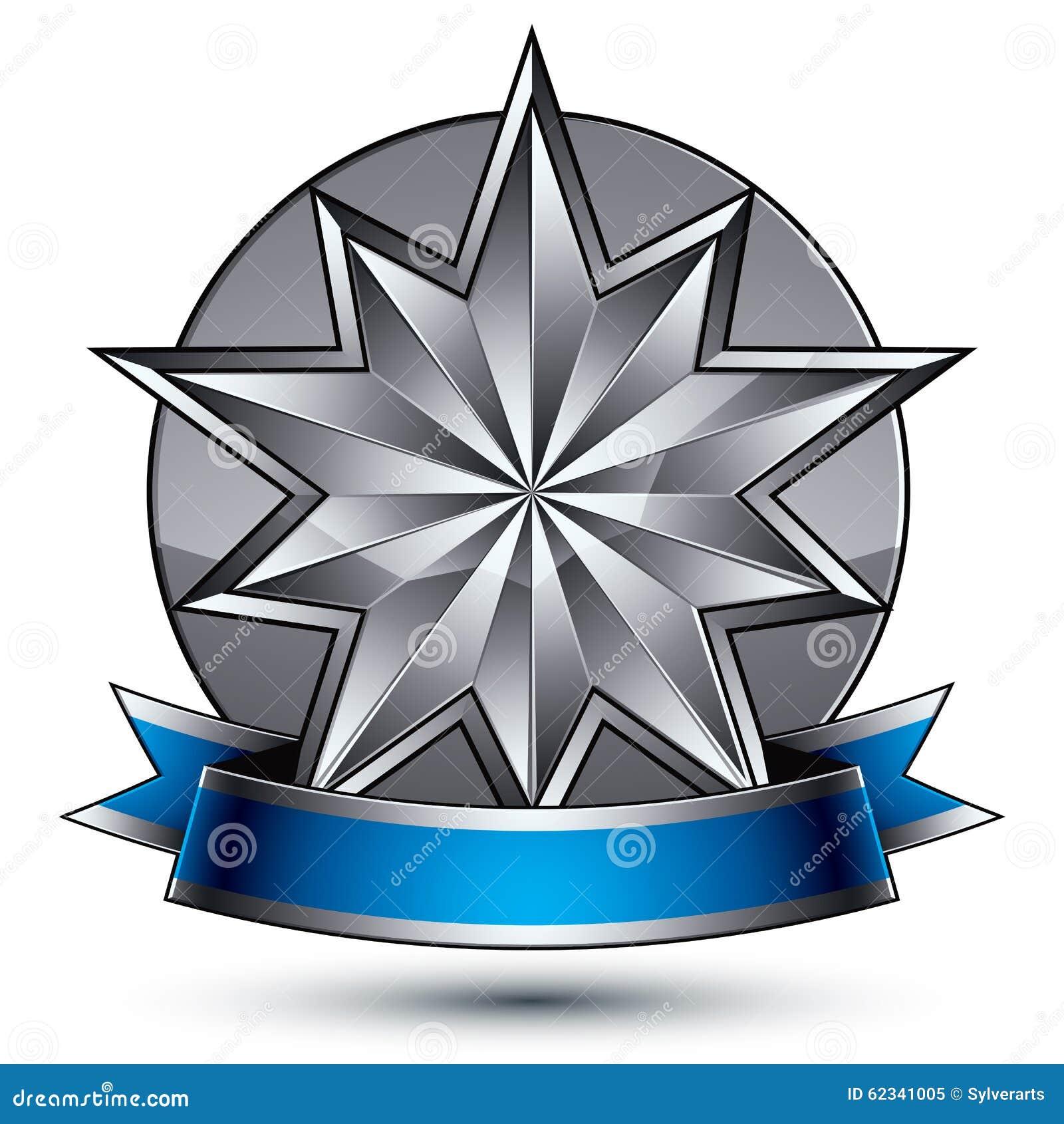 Klassiskt kungligt symbol för vektor 3d, sofistikerat silveremblem
