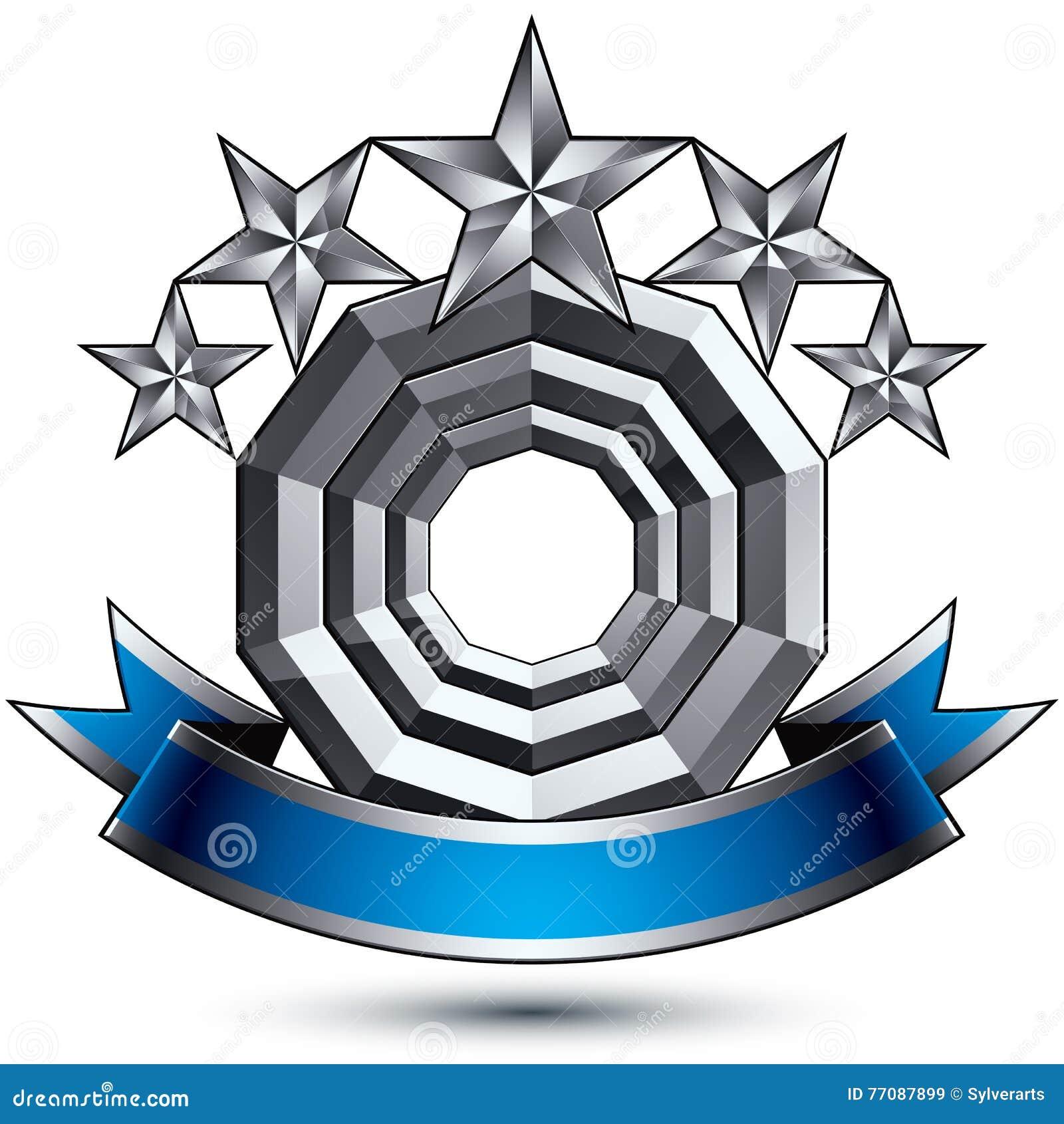 Klassiskt kungligt symbol för vektor 3d, sofistikerat silverrundaemblem