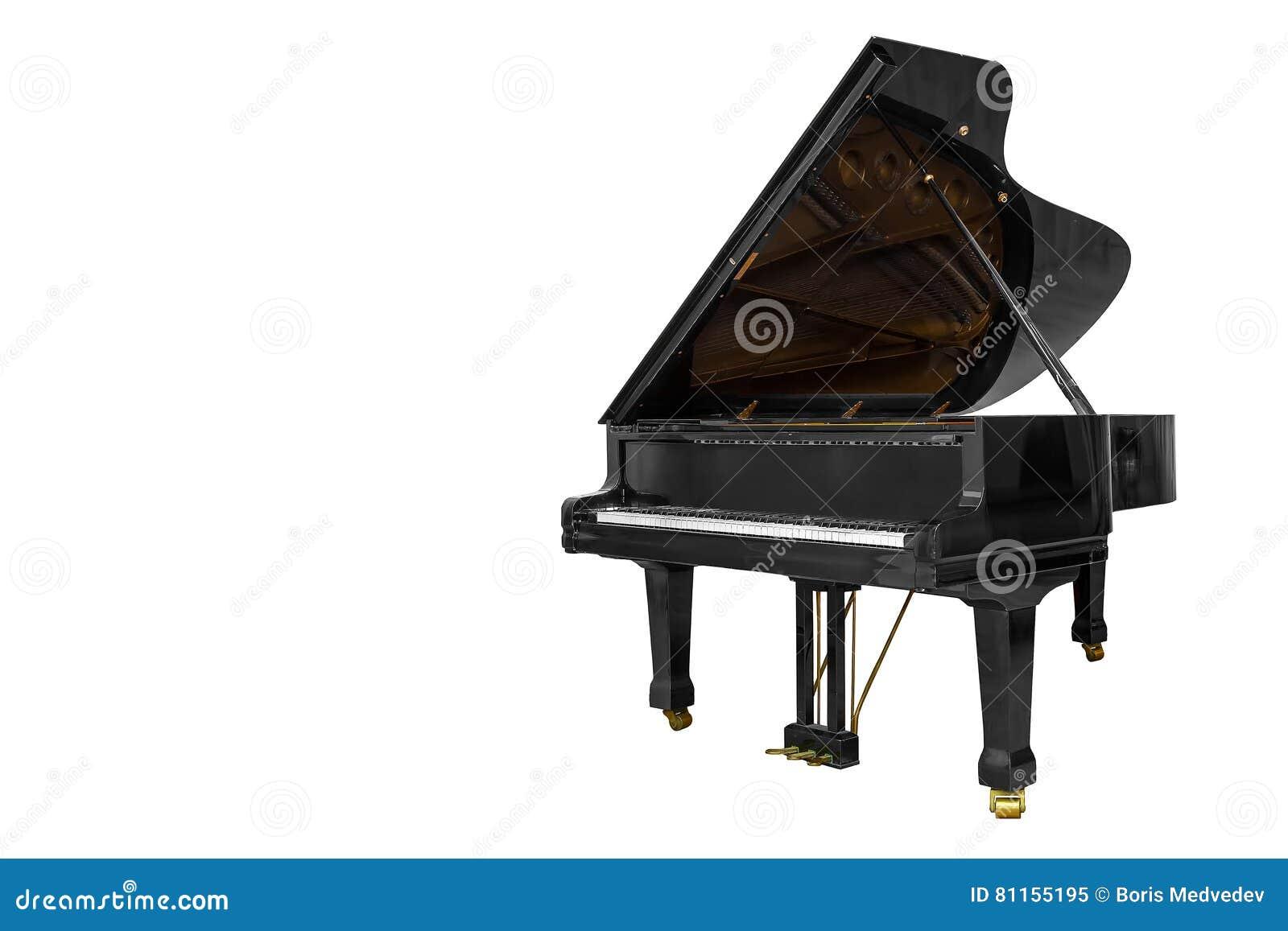 Klassiskt musikinstrumentsvartpiano som isoleras på vit bakgrund