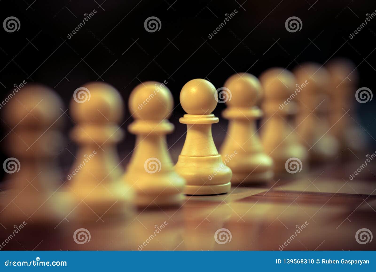 Klassiskt schack Pawns ställde upp