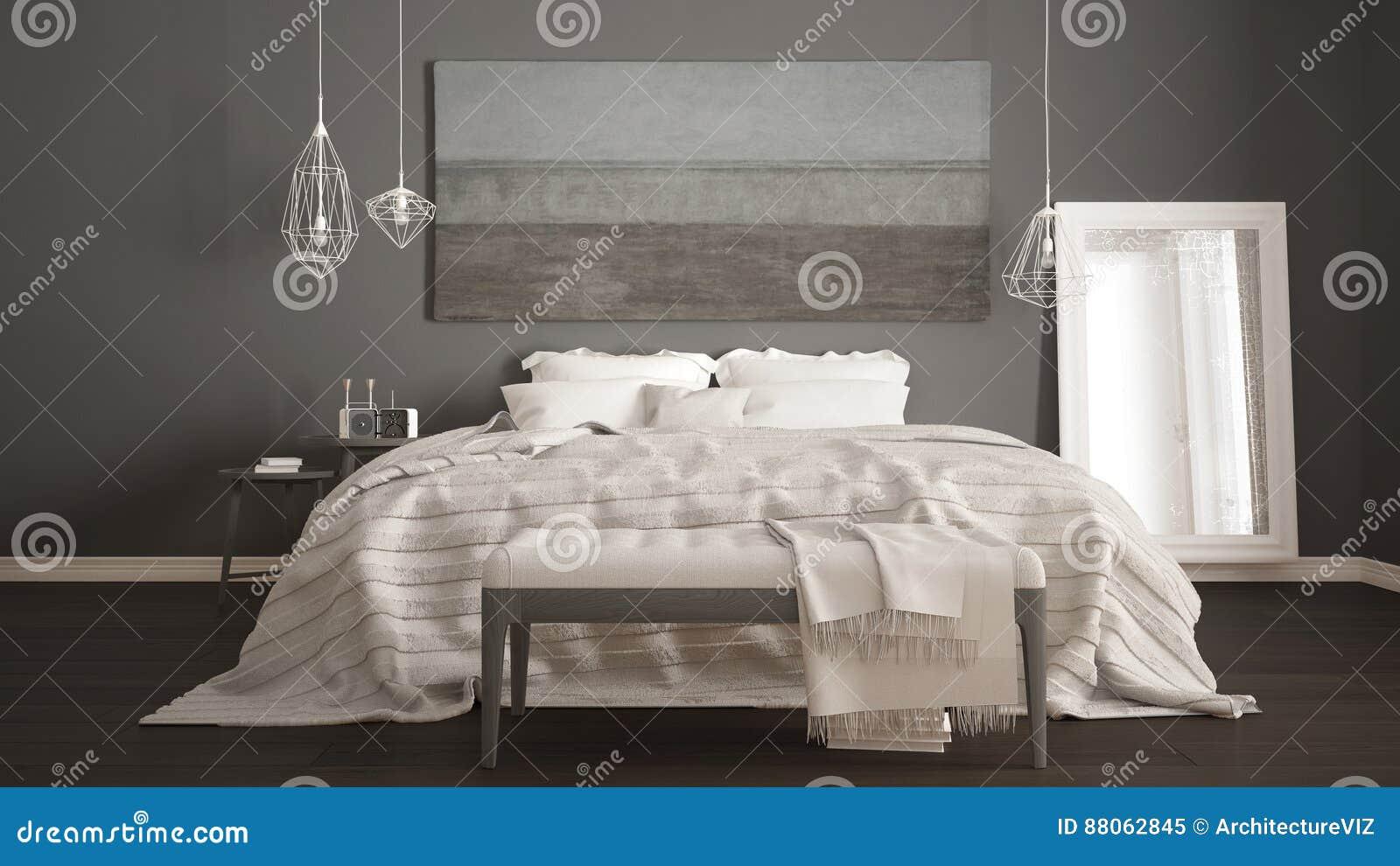 Klassiskt sovrum, scandinavian modern stil, minimalistic interio