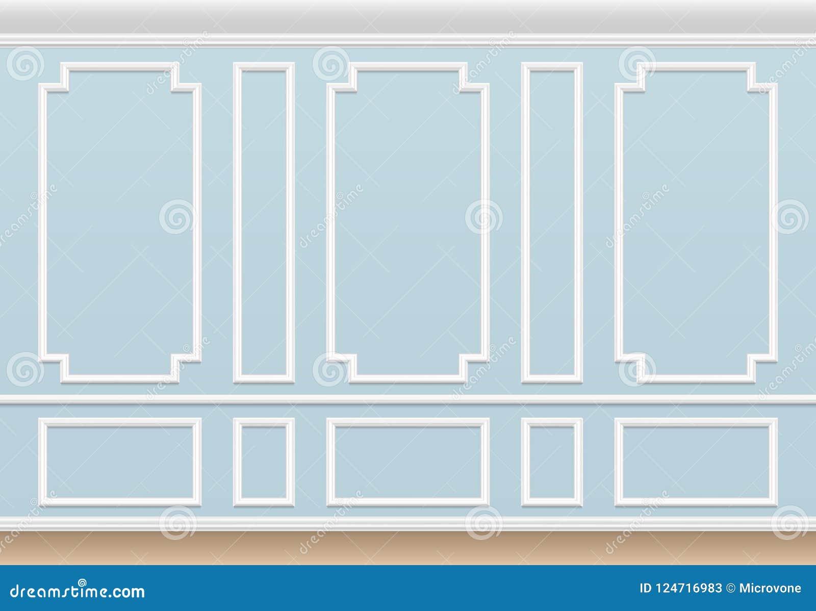Klasyczna błękit ściana z pleśniejącym panelem Domowy luksusowy wnętrze z formierstwo ramami Wektorowy tło
