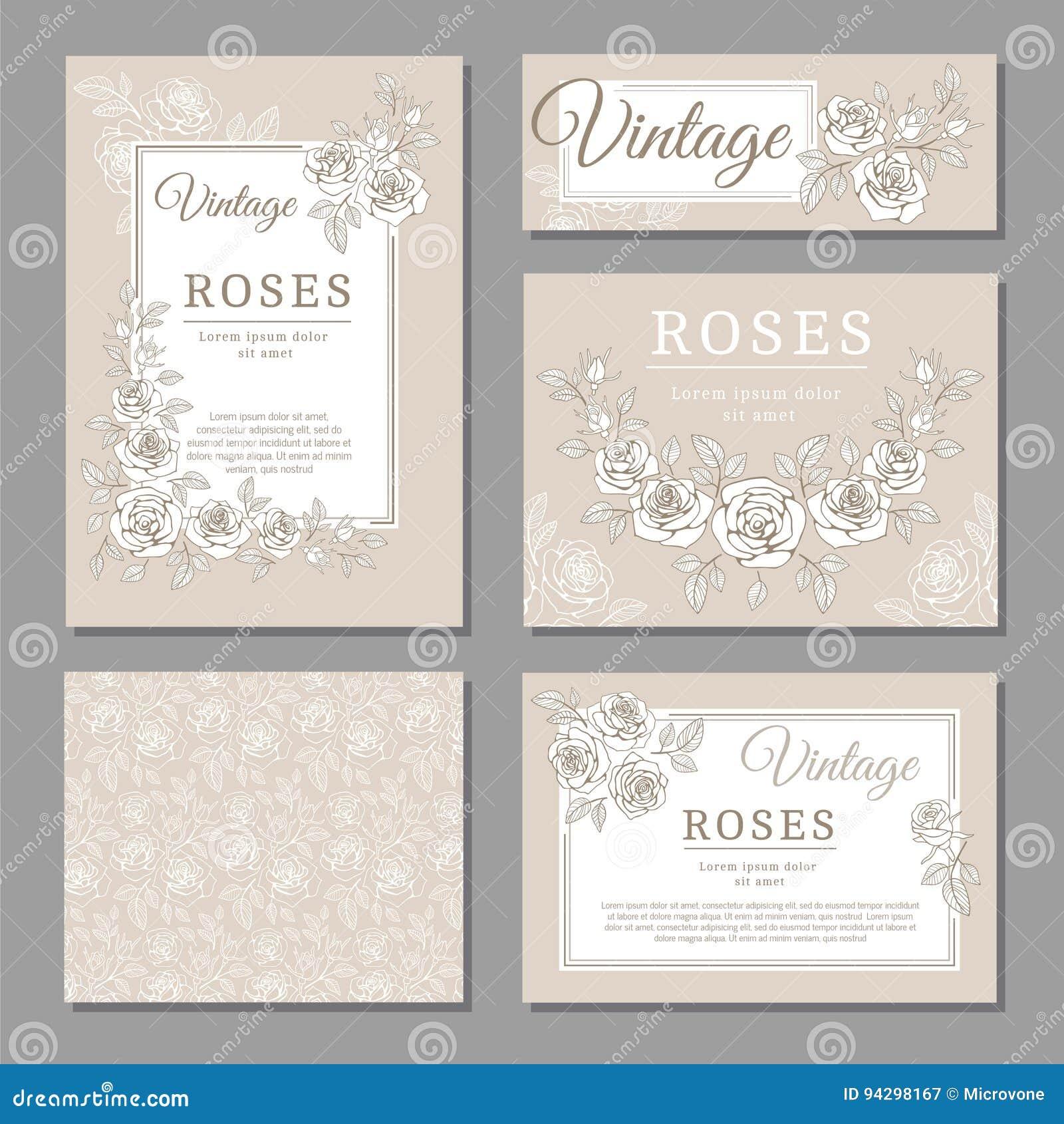 Klasyczne ślubne rocznika zaproszenia karty z różami i kwiecistymi elementu wektoru szablonami