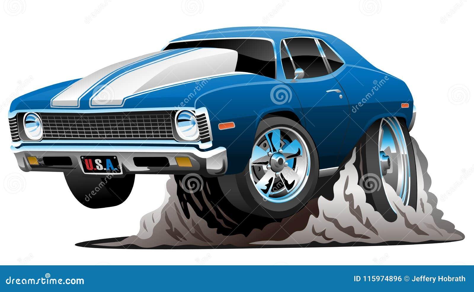 Klasycznego Amerykańskiego mięśnia kreskówki wektoru Samochodowa ilustracja