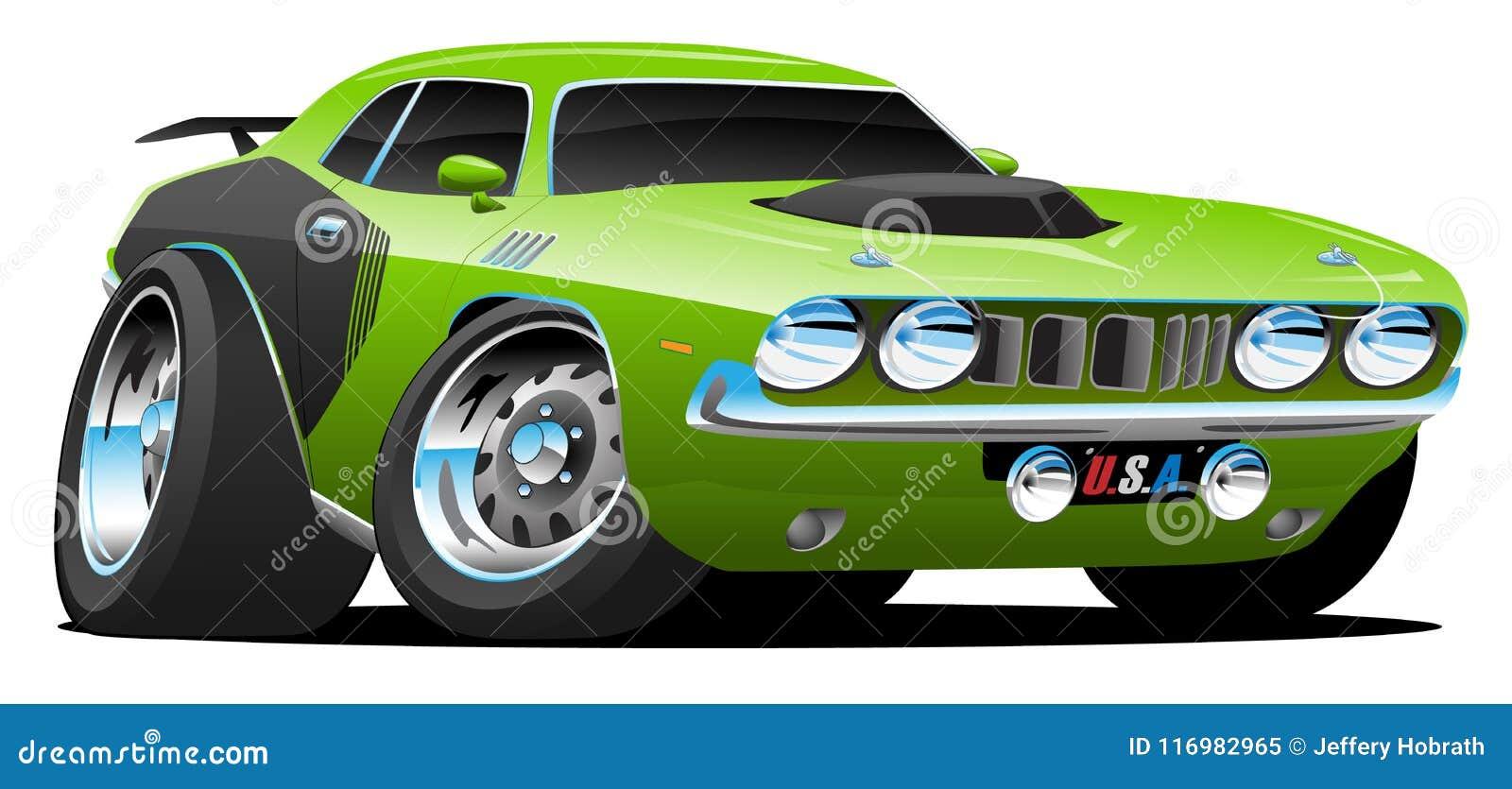 Klasycznego lata siedemdziesiąte Stylowego Amerykańskiego mięśnia kreskówki wektoru Samochodowa ilustracja