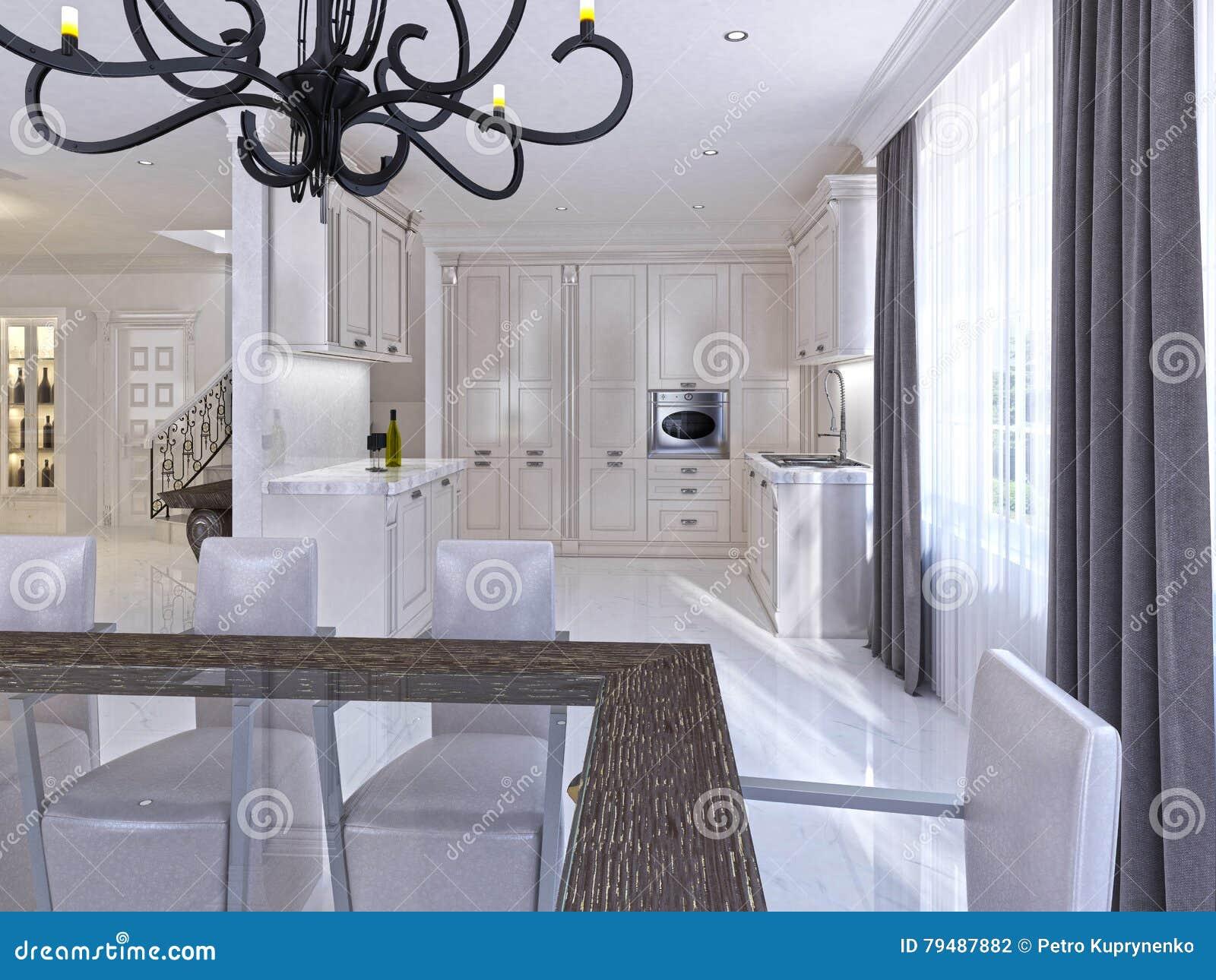 Klasyczny biały łomota pokój w stylu art deco