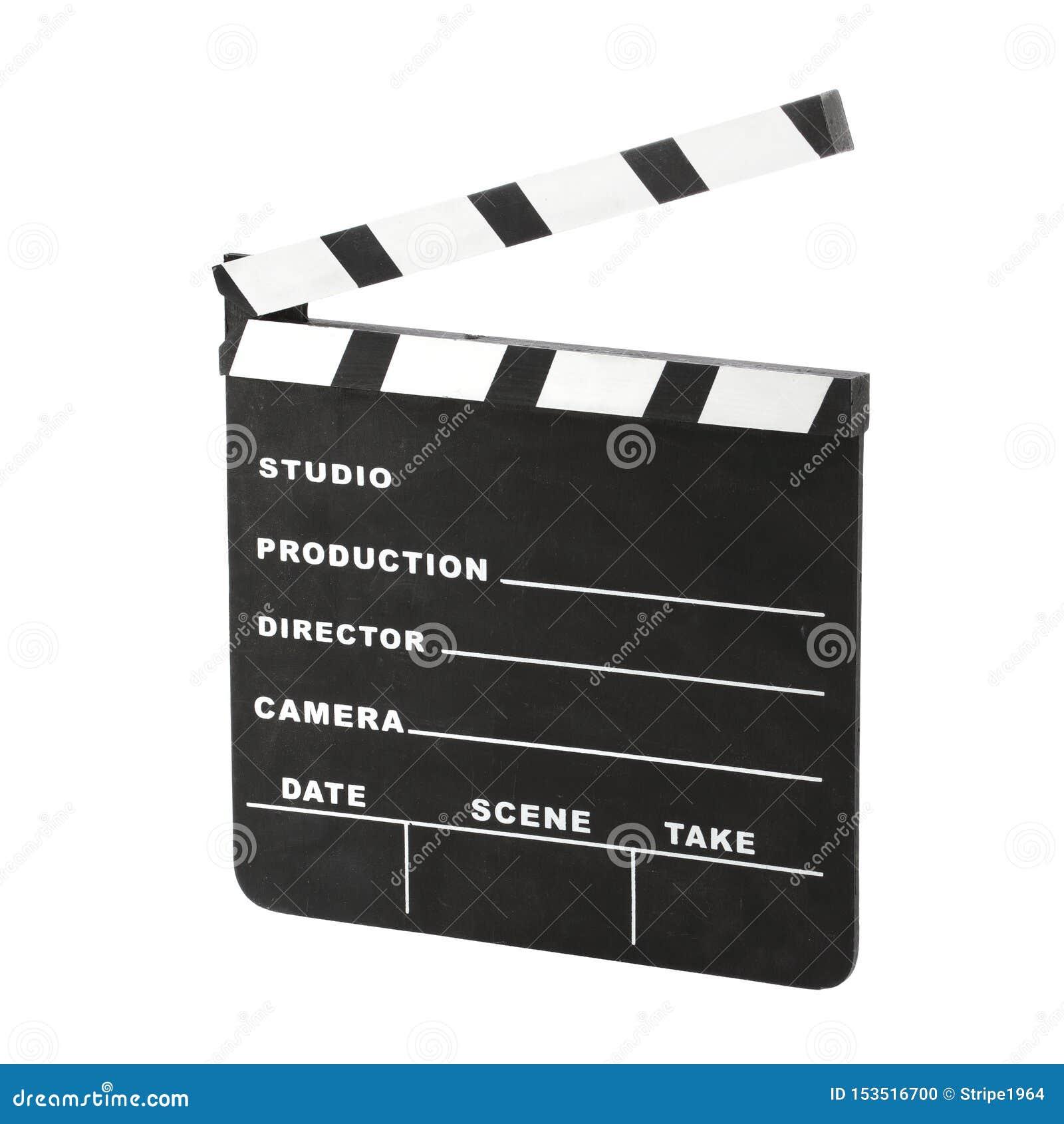 Klasyczny clapperboard wędkujący dobrze Hollywood kredy otwarty odosobniony na białym tle z ścinek ścieżką