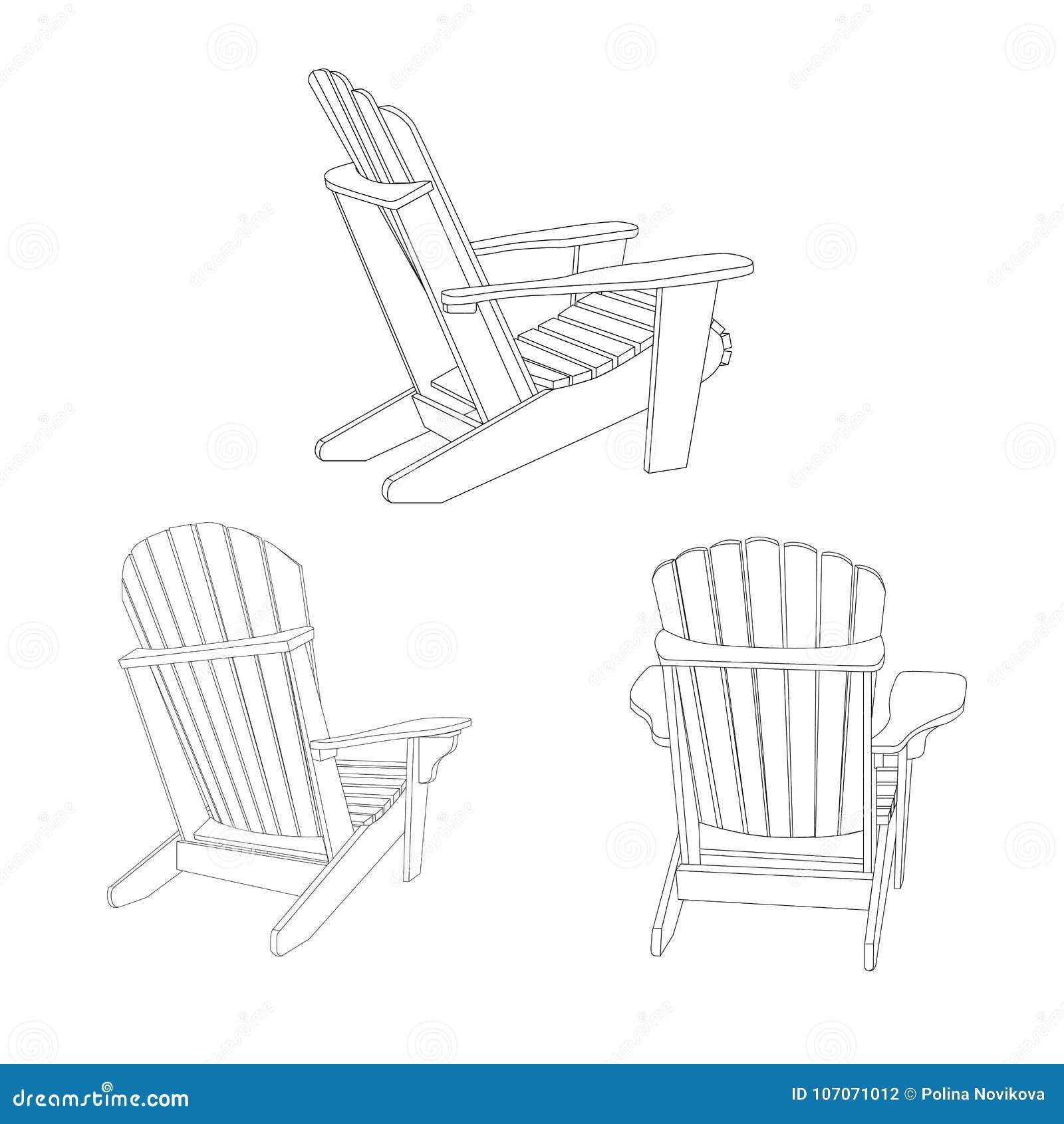 Klasyczny drewniany plenerowy krzesło, konturu nakreślenie Ogrodowy meblarski ustawiający w adirondack stylu