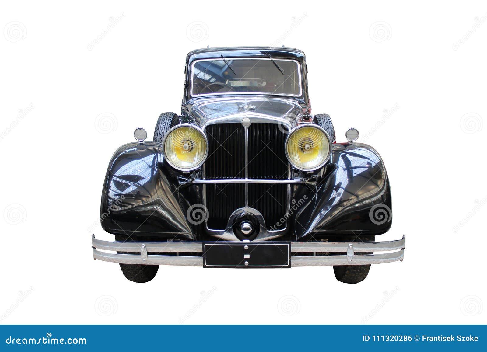 Klasyczny oldtimer samochód odizolowywający na bielu
