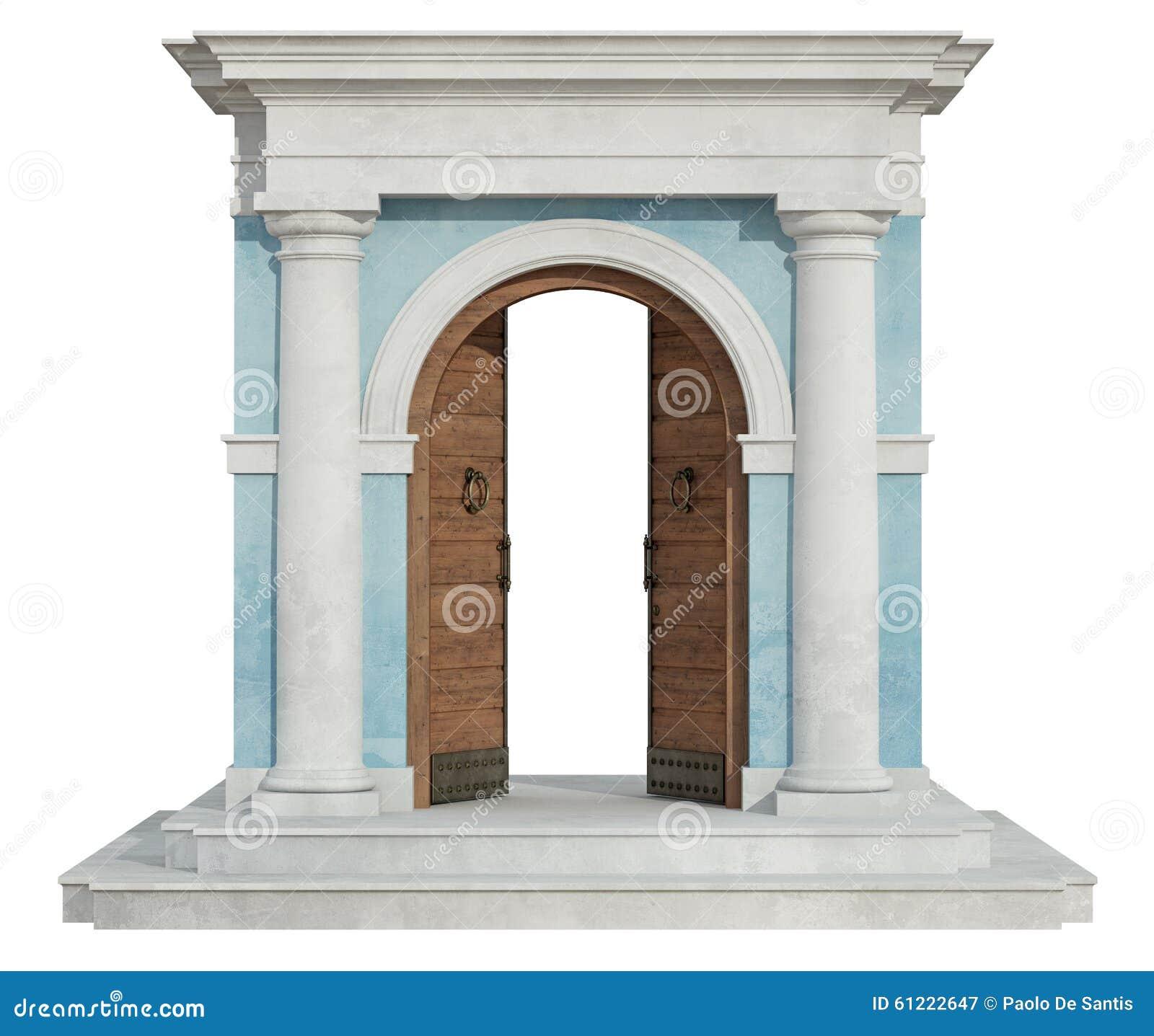 Klasyczny portal z otwarte drzwi