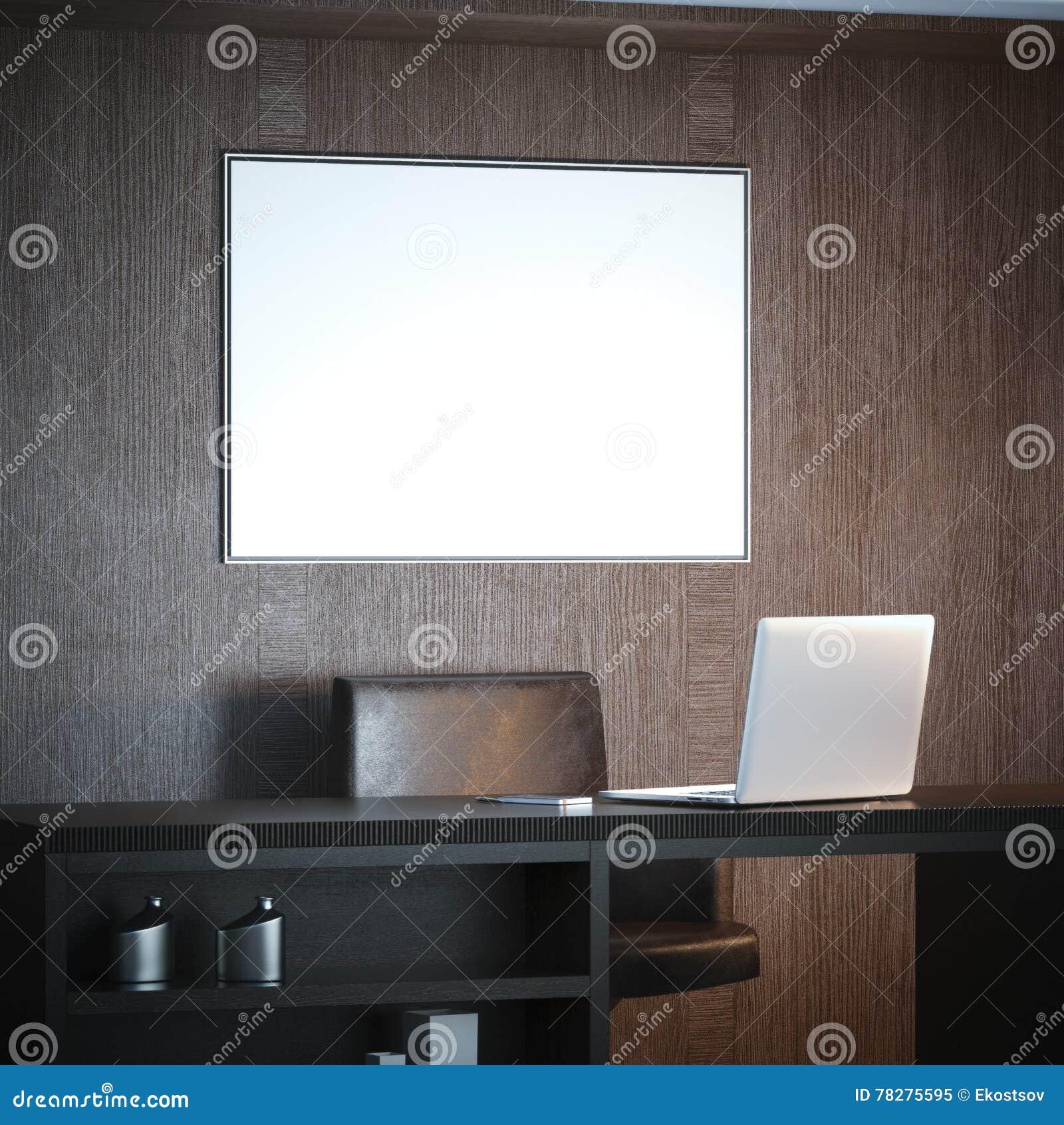 Klasyczny wnętrze z miejscem pracy i białą dużą kanwą świadczenia 3 d