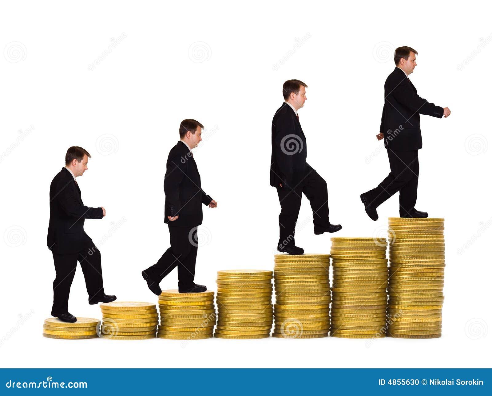 Klatki schodowe biznesmena pieniądze