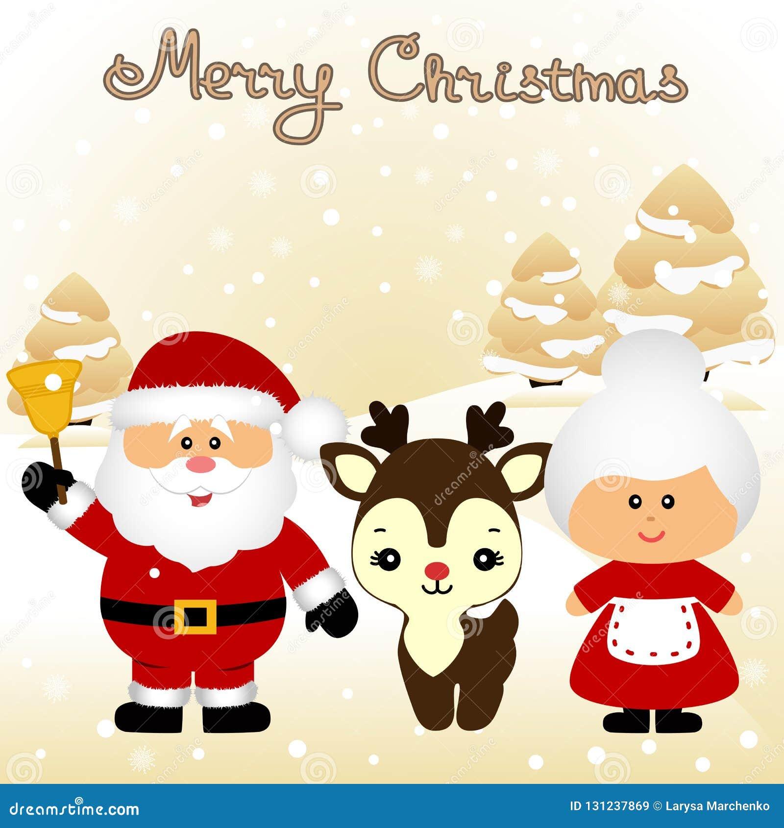 Klaus santa för frost för påsekortjul sky Rolig vykort med fru Santa Claus Santa Clau