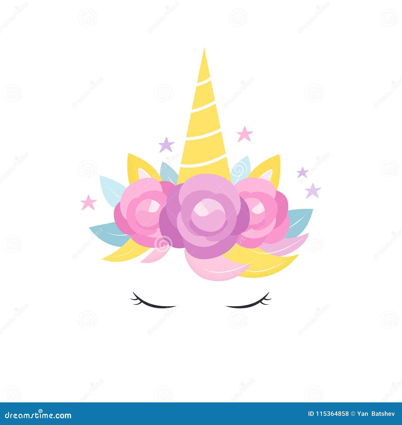 Klaxon De Licornes Avec La Conception De Fleurs Et De Carte D