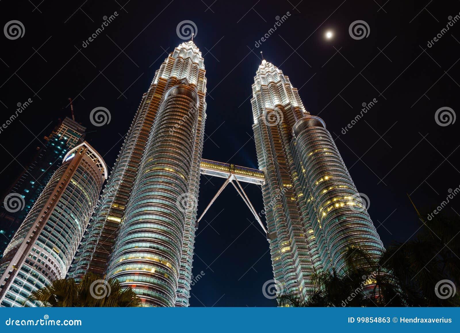 Petronas Twin Towers at night in KLCC, Kuala Lumpur - Malaysia