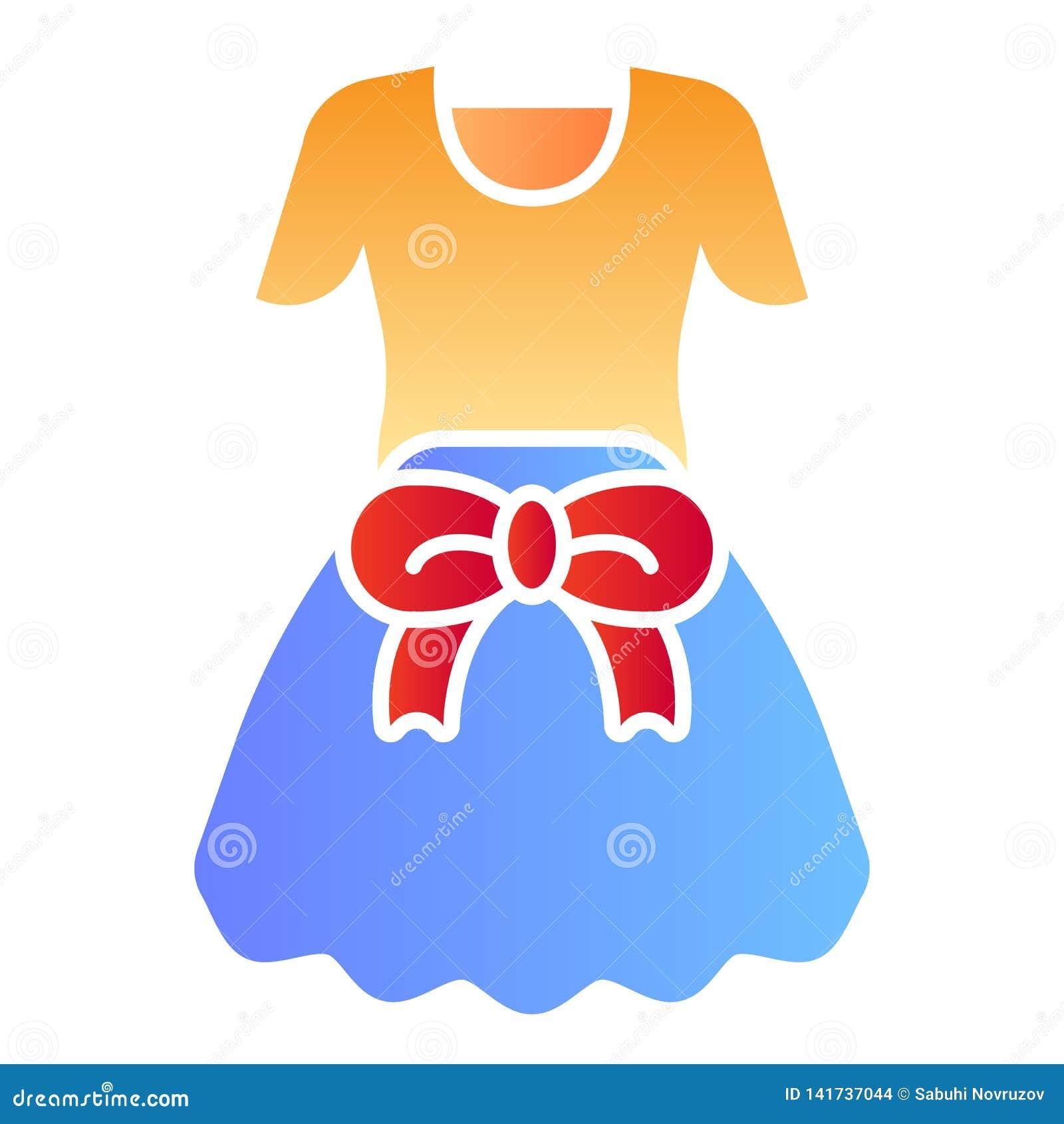 Kleding met boog vlak pictogram De kleurenpictogrammen van meisjeskleren in in vlakke stijl Vrouwelijk de stijlontwerp van de kle
