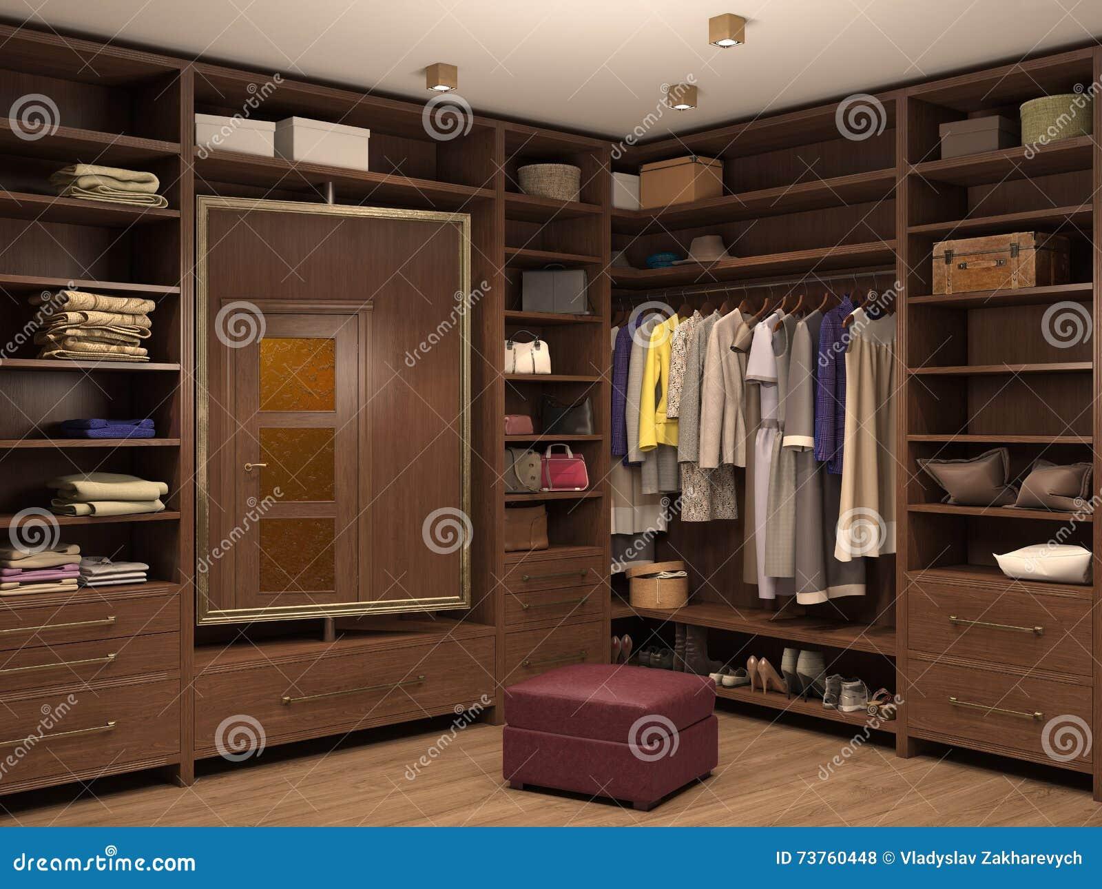 Kleedkamer binnenlands van een modern huis stock illustratie afbeelding 73760448 for Moderne kleedkamer