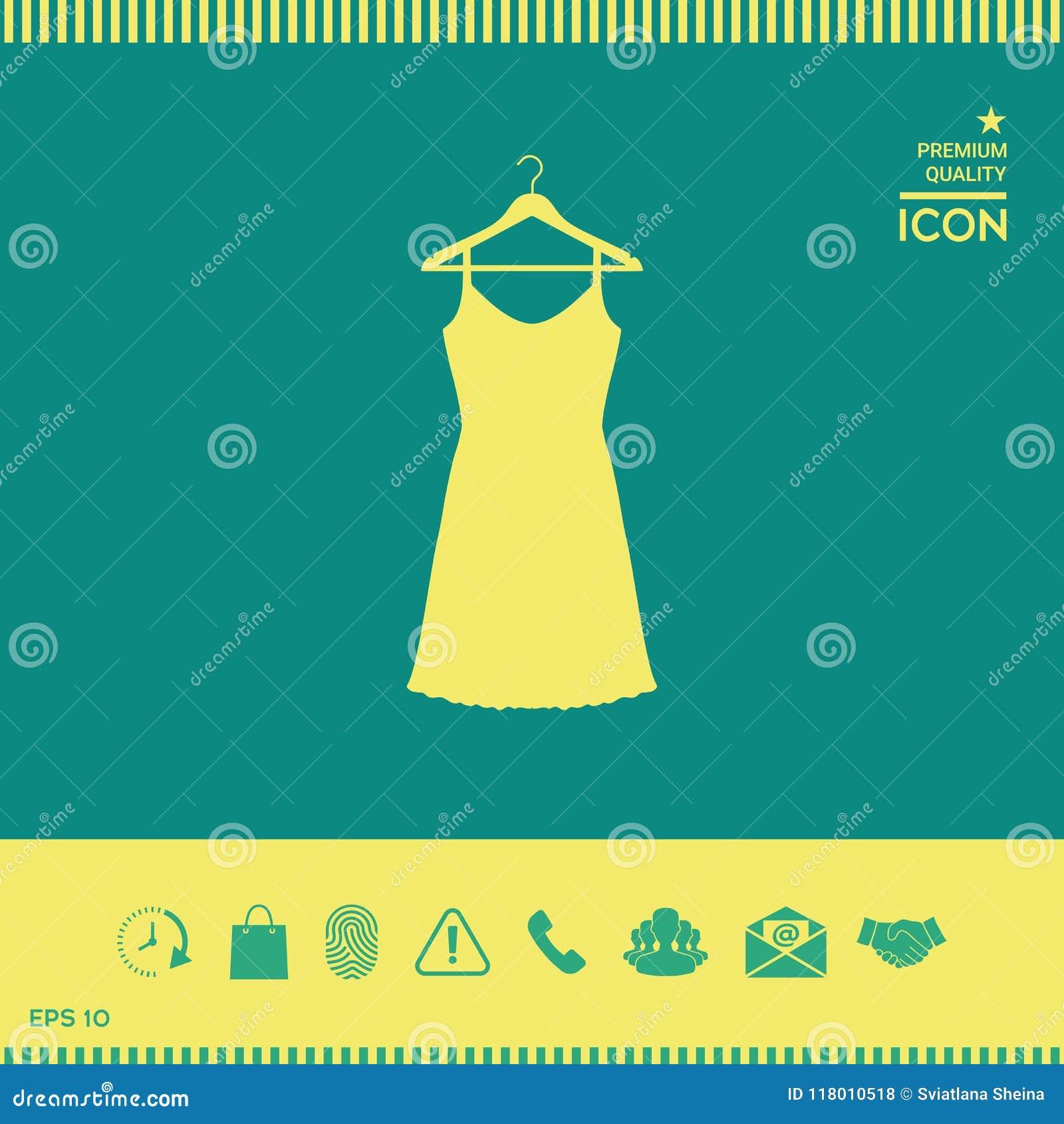 Kleid Sundress, des Abends, Kombination oder Nachthemd auf dem Garderobenaufhänger, das Schattenbild Menüpunkt im Webdesign