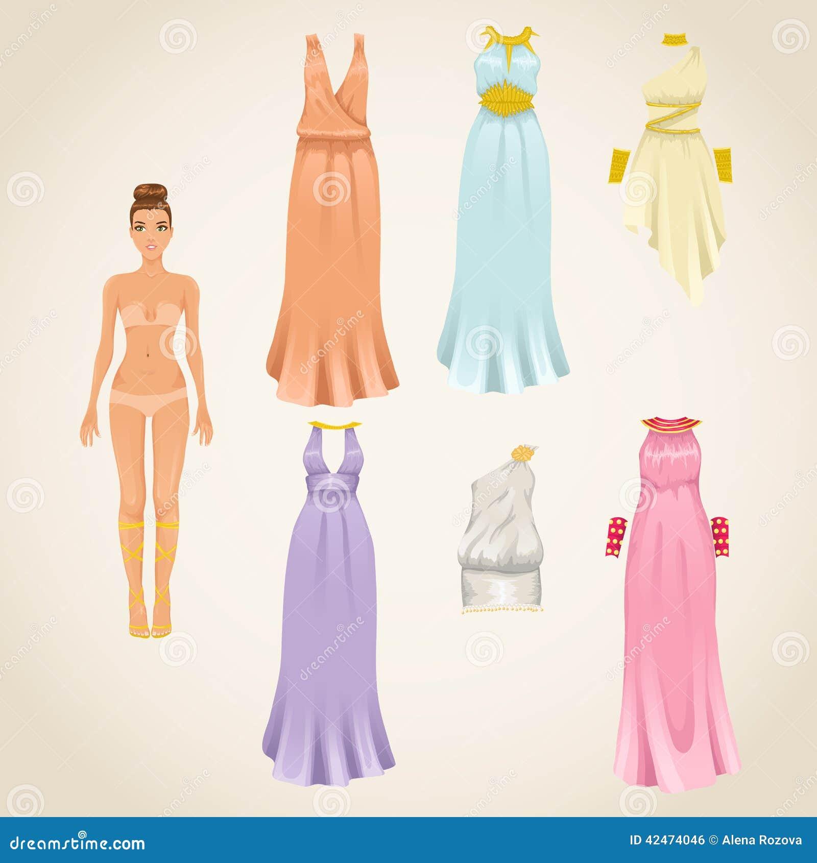 Kleiden Sie oben Puppe mit griechischen Kleidern