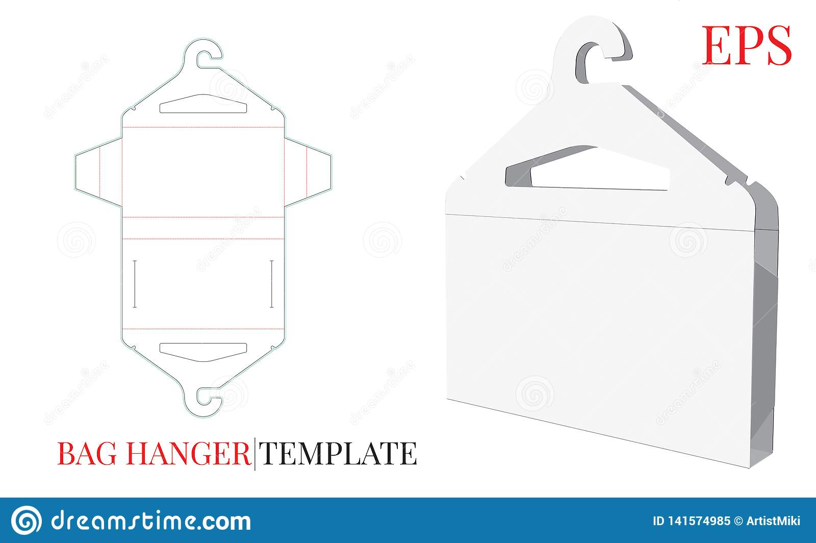 Kleiderbügel-und Stoff-Taschen-Schablone Vektor mit den gestempelschnittenen/Laser-Schnittlinien