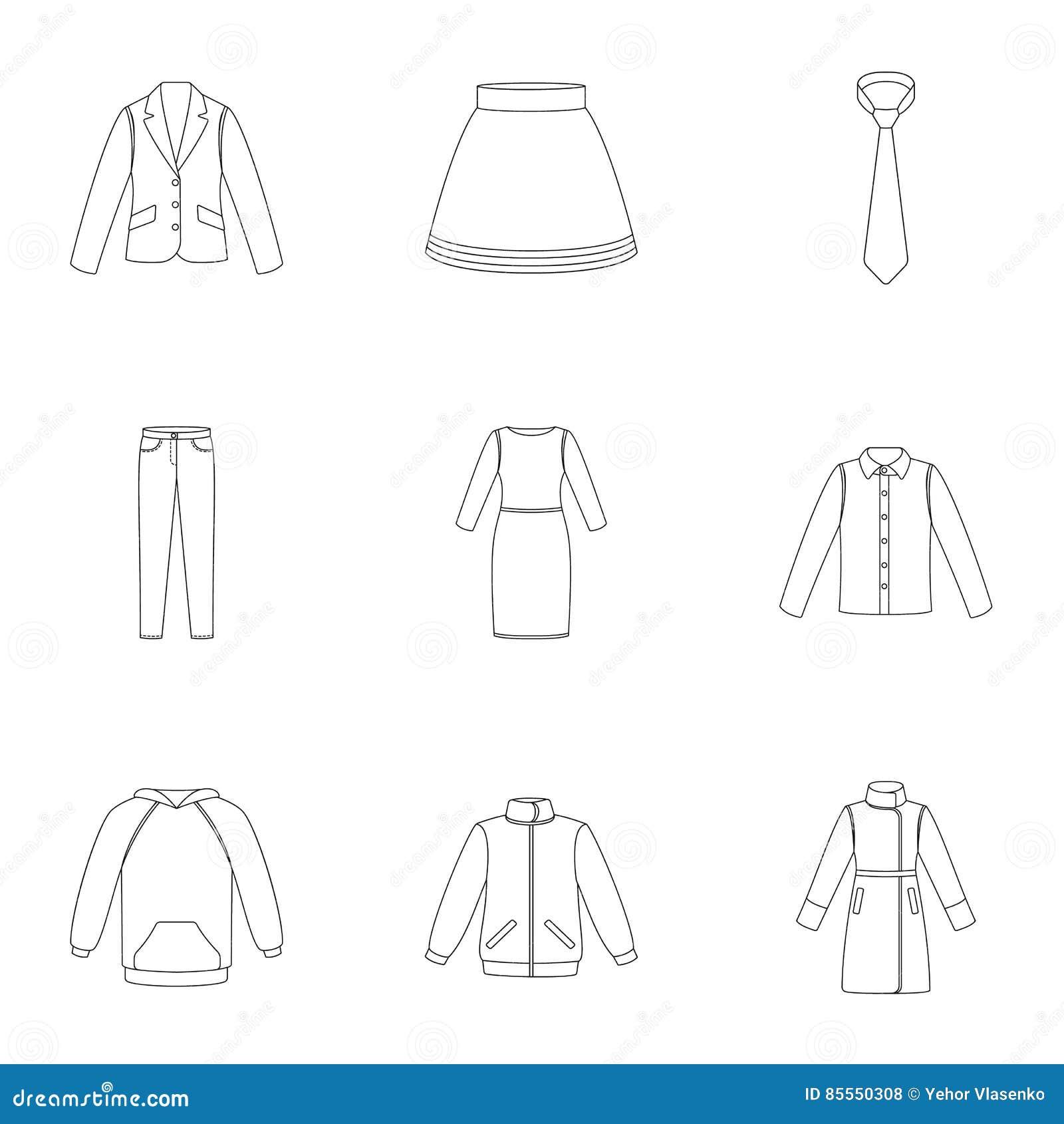 Kleidung stellte Ikonen in der Entwurfsart ein Große Sammlung der Kleidungsillustration