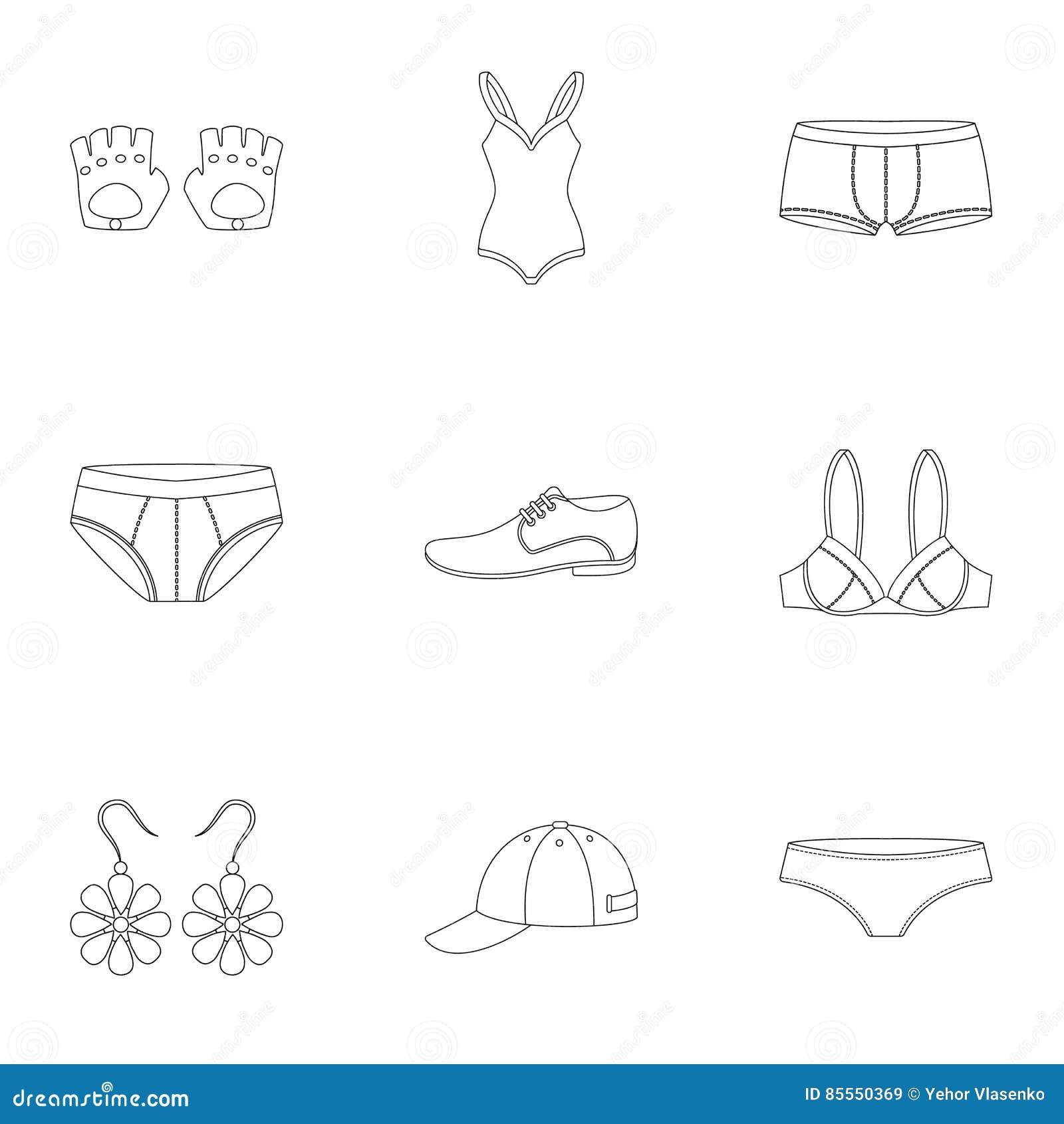 Kleidung stellte Ikonen in der Entwurfsart ein Große Sammlung Kleidung vector Illustration des Symbols auf Lager
