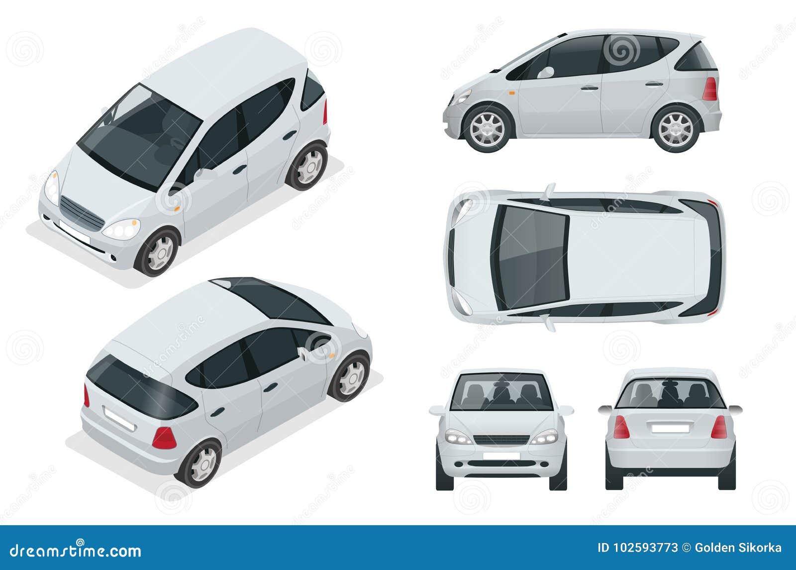 Klein Compact Elektrisch Voertuig Of Hybride Auto Milieuvriendelijke