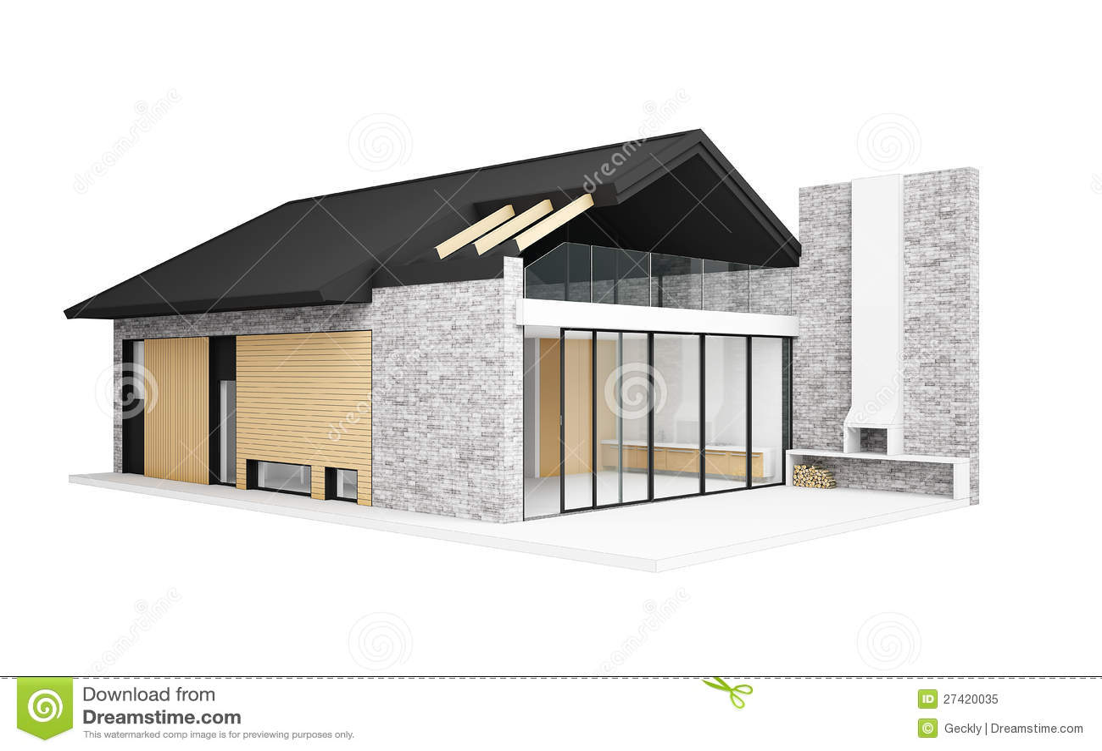 Klein modern huis royalty vrije stock foto beeld 27420035 for Moderne huis foto