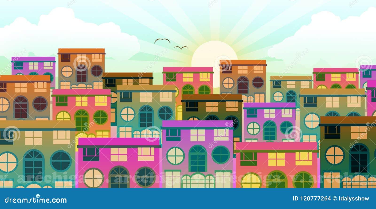 Klein stedelijk gebied met huizen bij dageraad