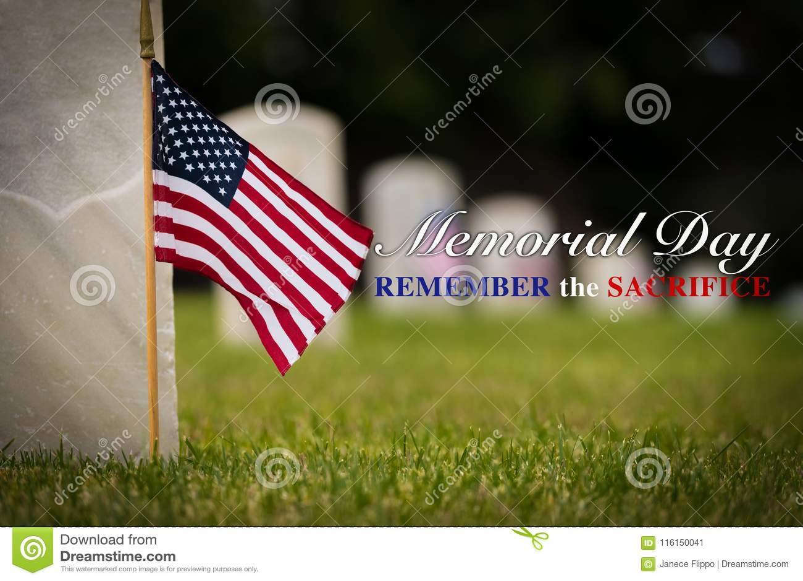 Kleine Amerikaanse vlag bij Nationale begraafplaats - Memorial Day -vertoning -