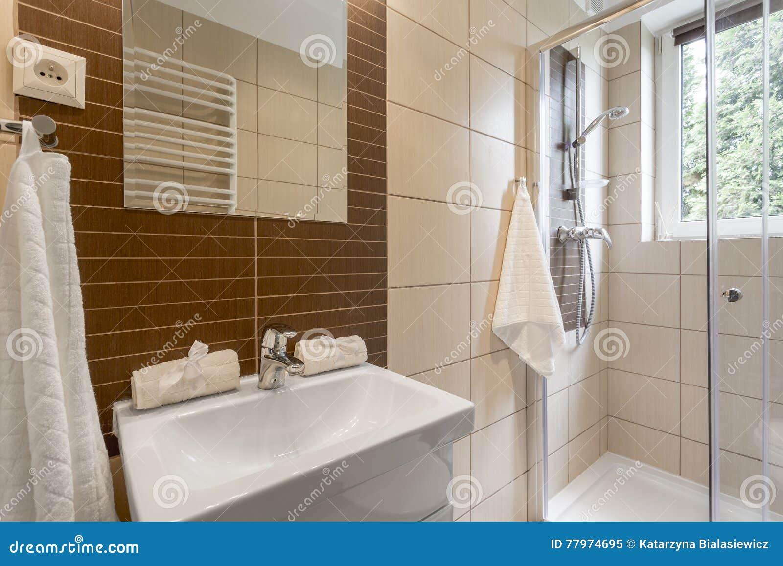Kleine badkamers in bruin idee stock afbeelding afbeelding
