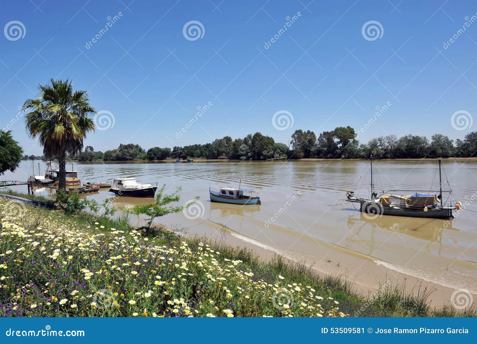 Kleine Boote am Pier, der Guadalquivir-Fluss, wie er durch Lederhäute del Provinz Rios, Sevilla überschreitet, Andalusien, Spanie