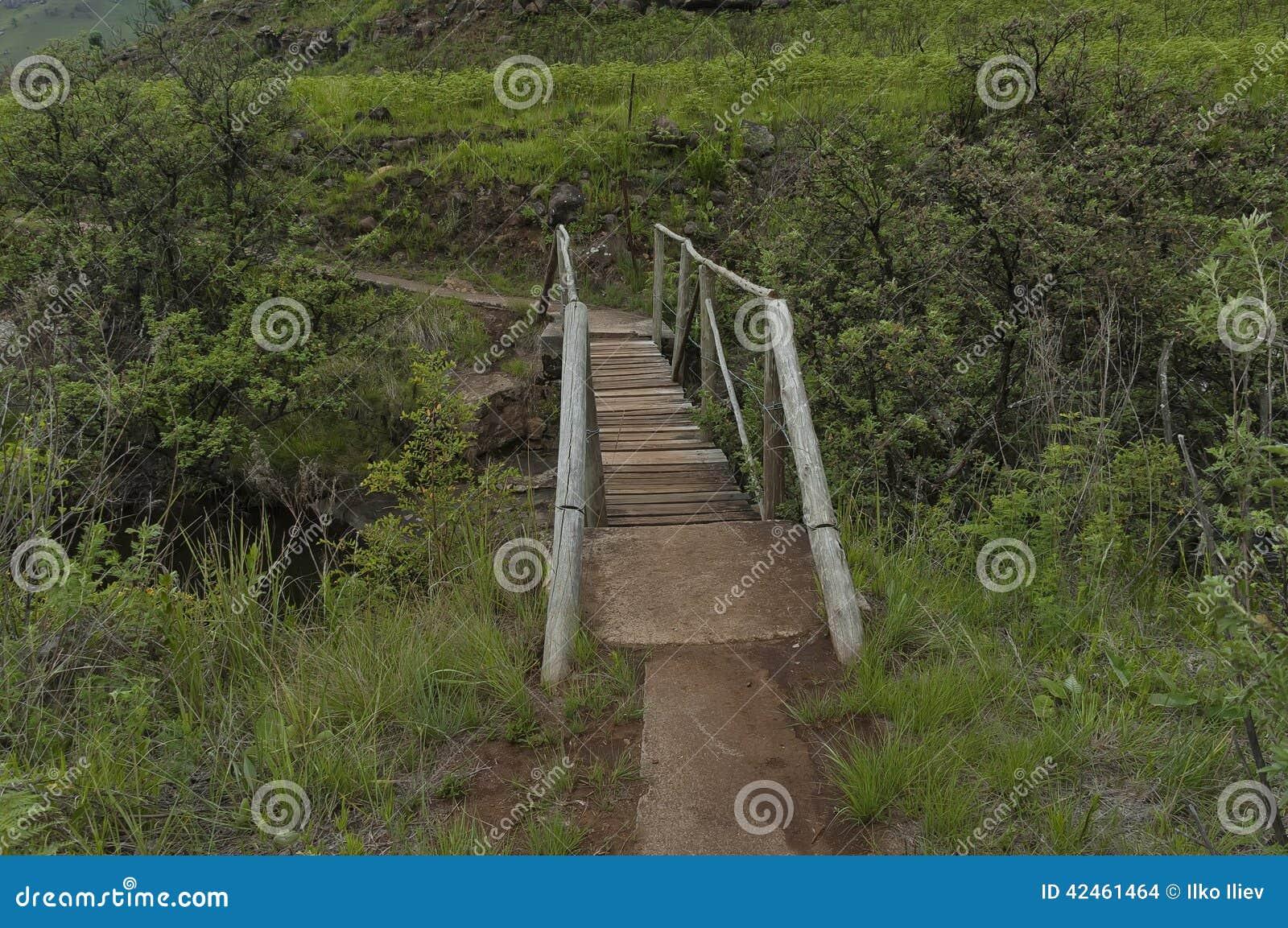 Kleine Brücke von Bushmans-Fluss im Giants-Schloss-Kwazulu Natal Naturreservat