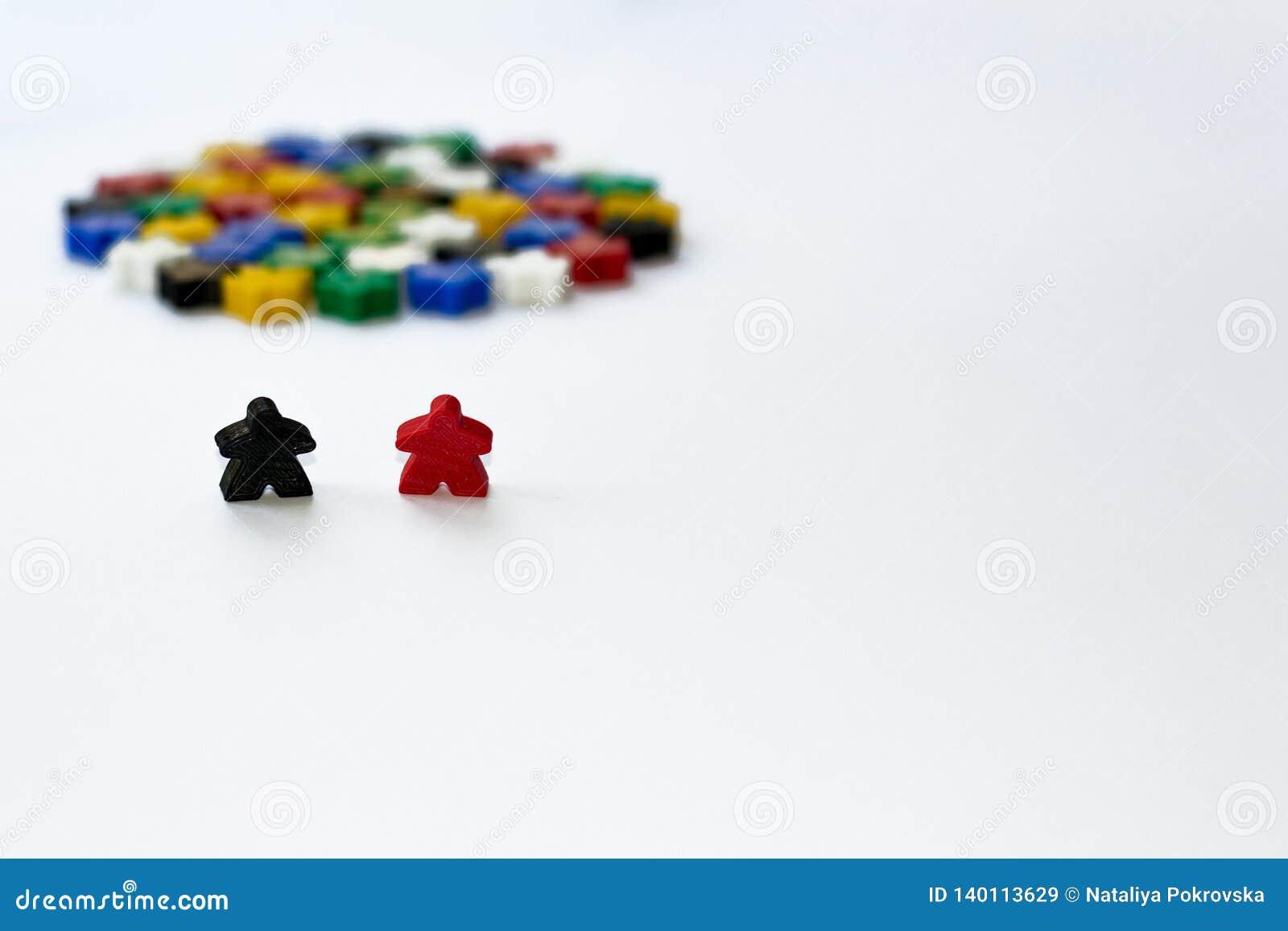 Kleine cijfers van de mens Het Concept van raadsspelen Paar van leiders van gemeenschap Bedrijfs strategie Componenten van kaarts