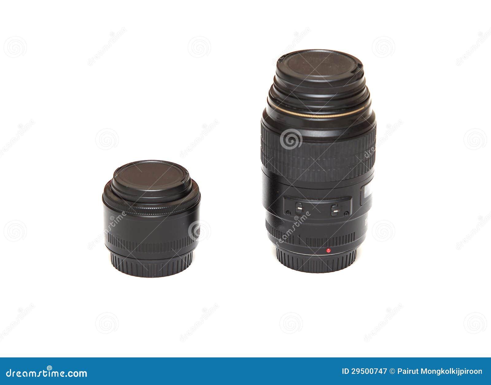 Kleine de lens van de camera en geïsoleerdo groot
