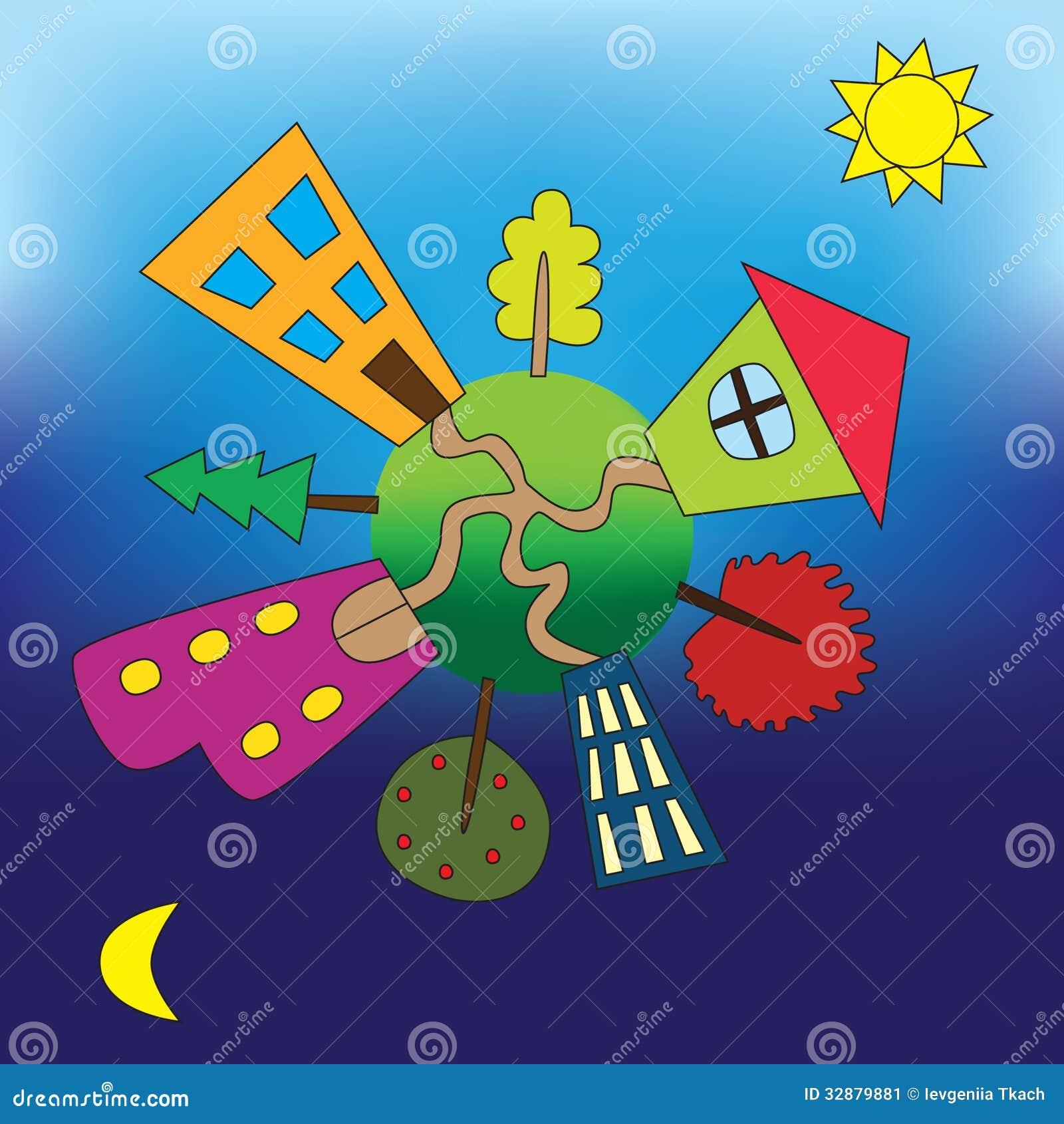 Kleine Eath met huizen en bomen