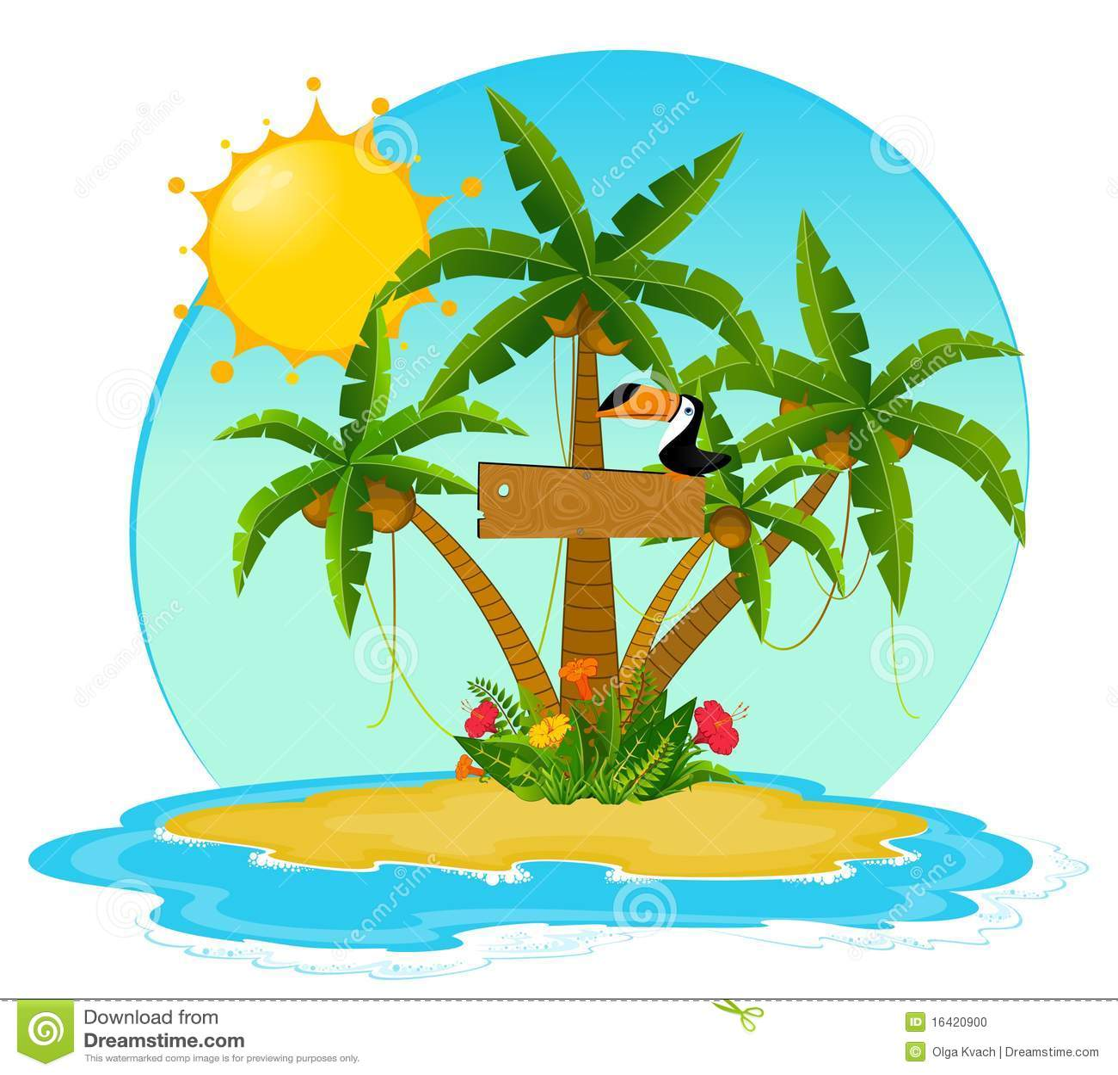 kleine insel mit tropischen palmen vektor abbildung bild. Black Bedroom Furniture Sets. Home Design Ideas