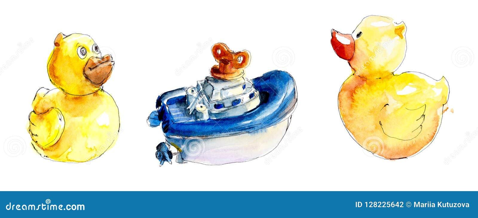 Kleine jonge geitjes Speelgoed en voorwerpen van zorg Waterverfhand geschilderde illustratie