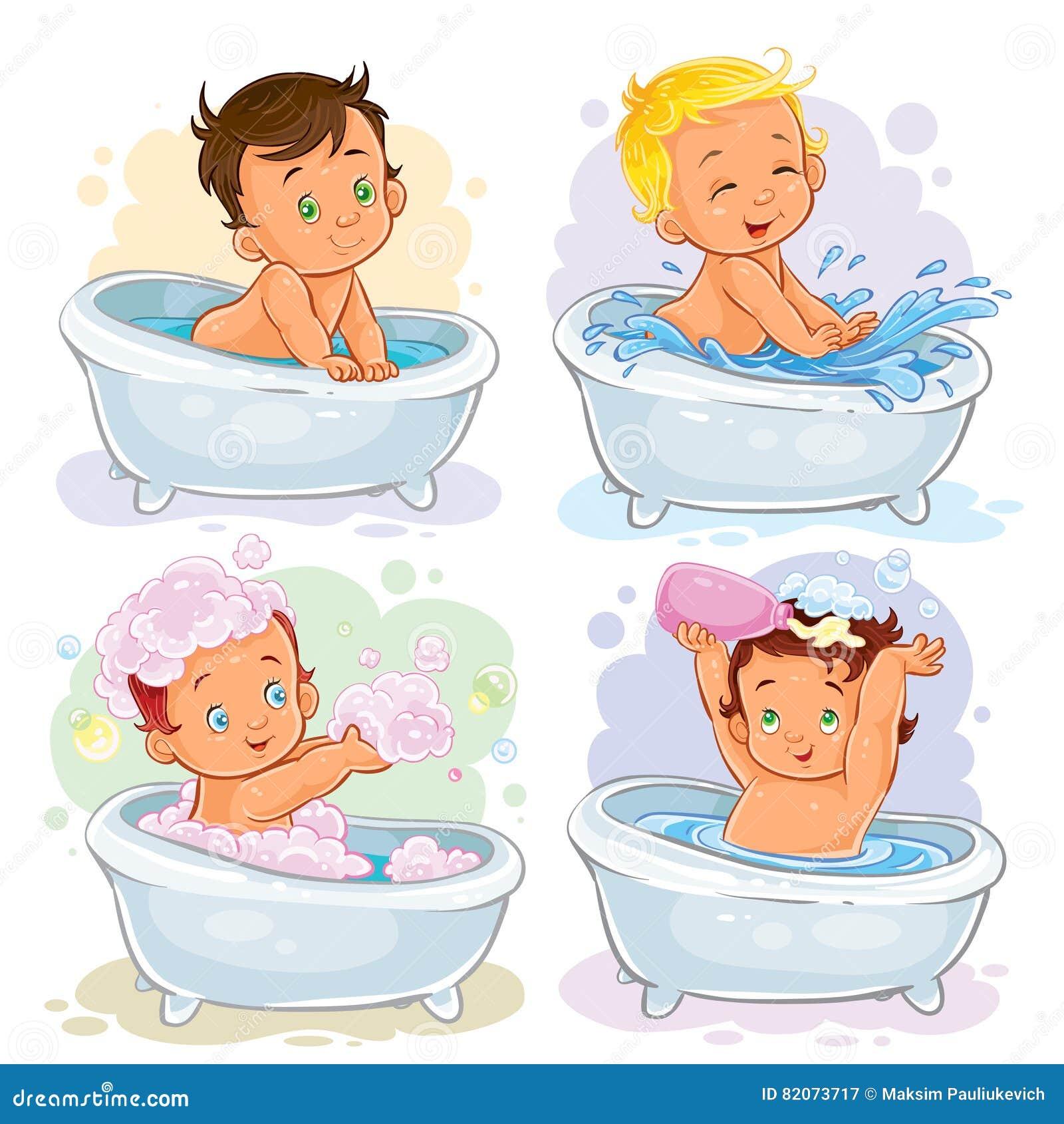 Kleine Kinder nehmen ein Bad