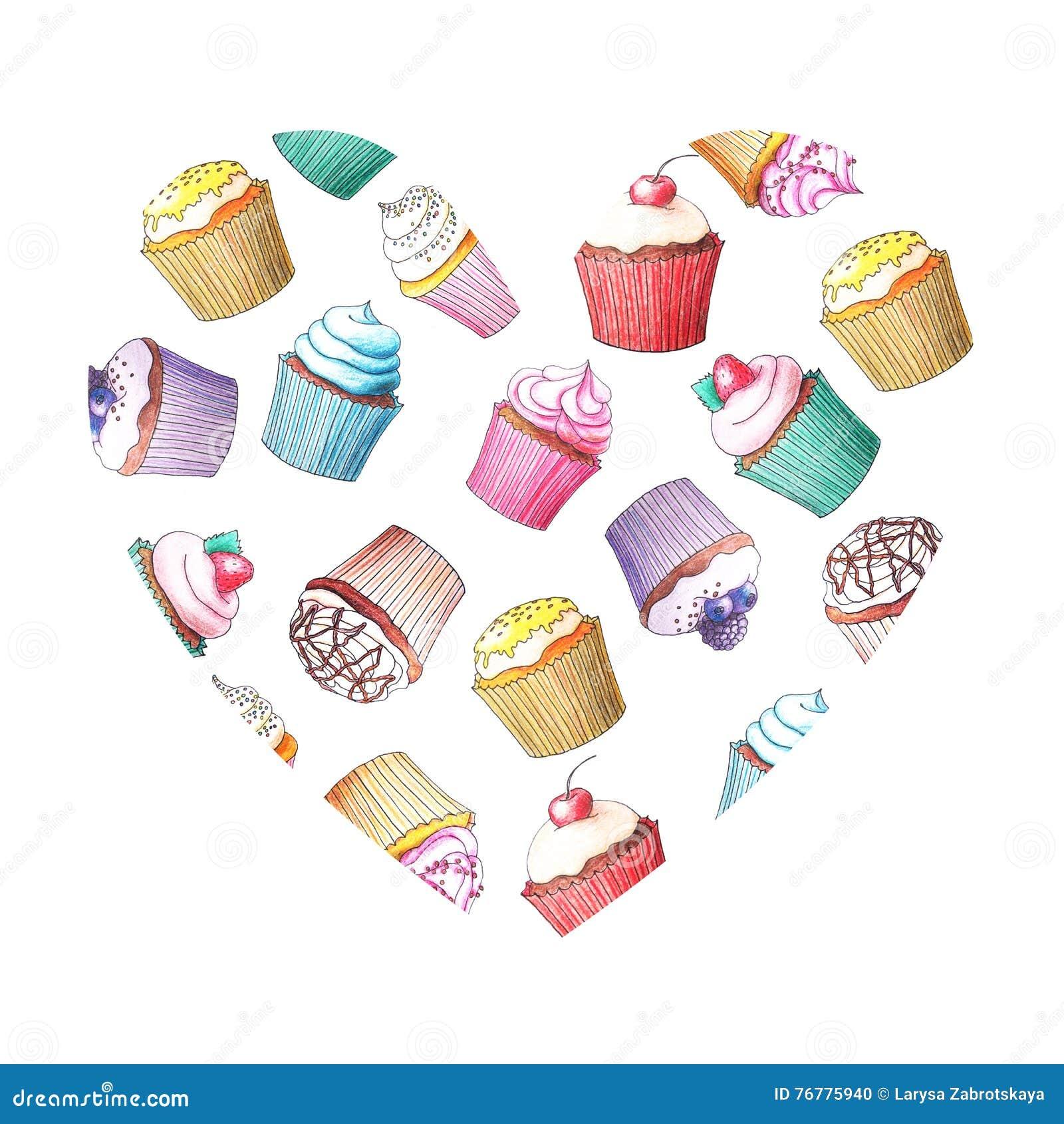 Kleine Kuchen Gezeichnet Durch Farbbleistifte Stock Abbildung
