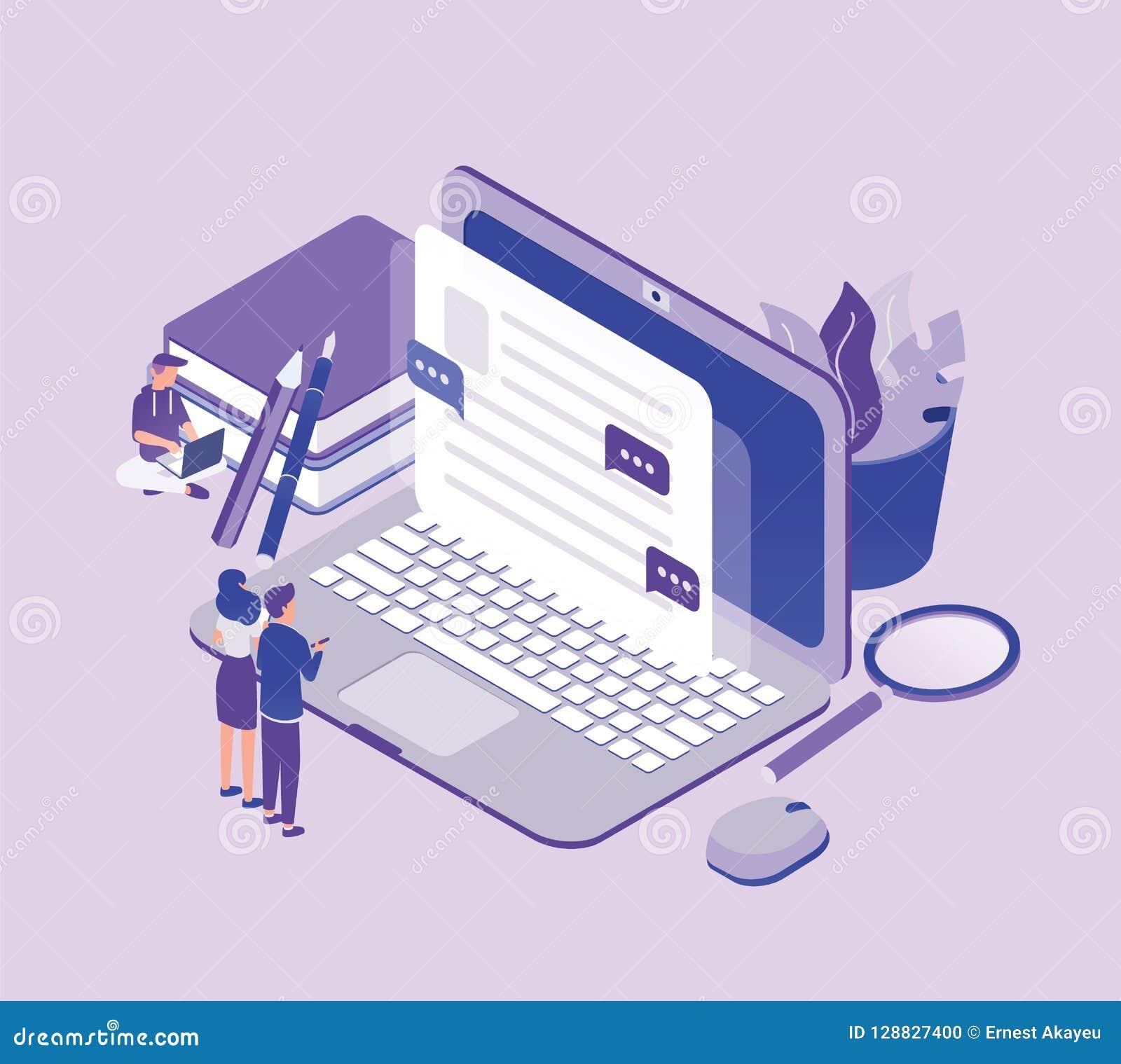 Kleine Leute, die vor riesiger Laptop-Computer stehen und Text auf Schirm betrachten Konzept von Copywriting, digital