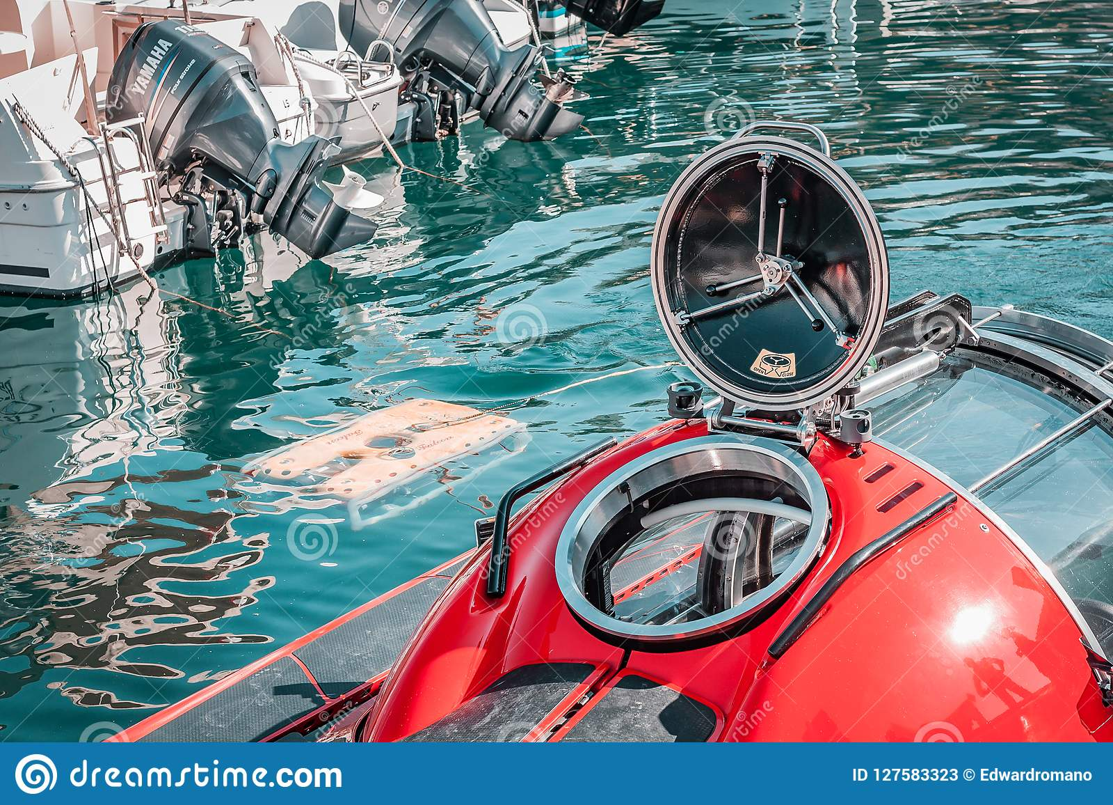 Kleine onderzeese, rode kleur Rond broedsel, vrij duiken, onderwatervervoer
