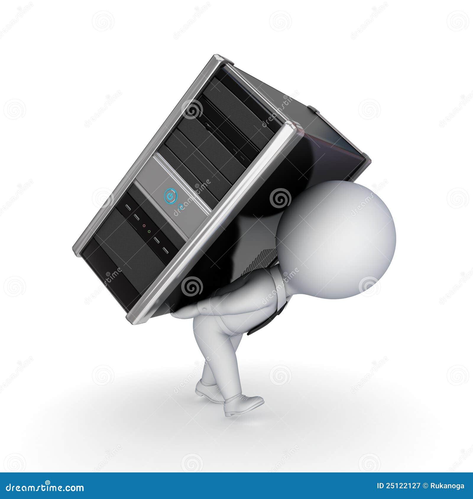Kleine Person 3d Mit Computer Stock Abbildung Illustration Von