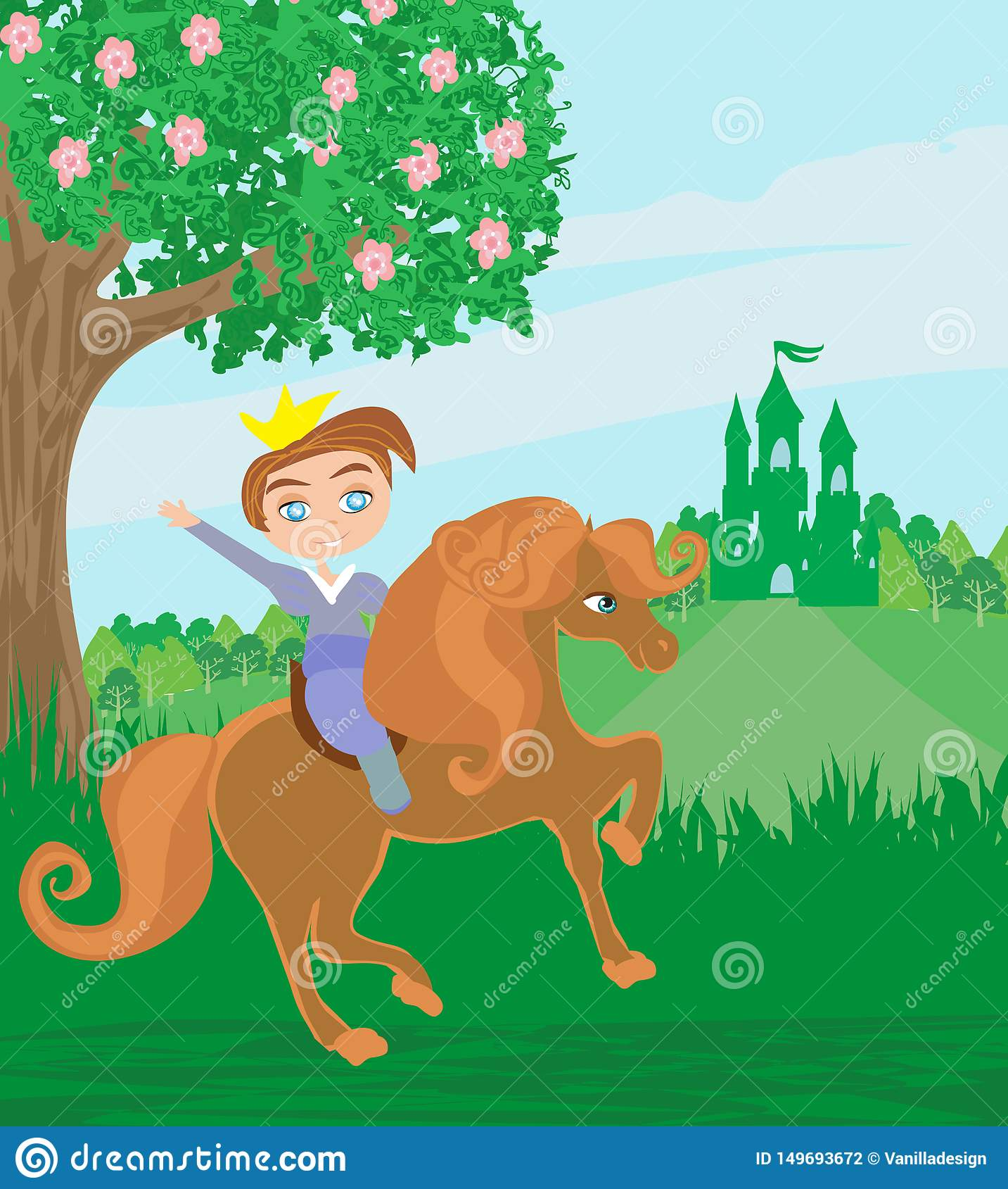kleine prinzessin auf pferd vektor abbildung