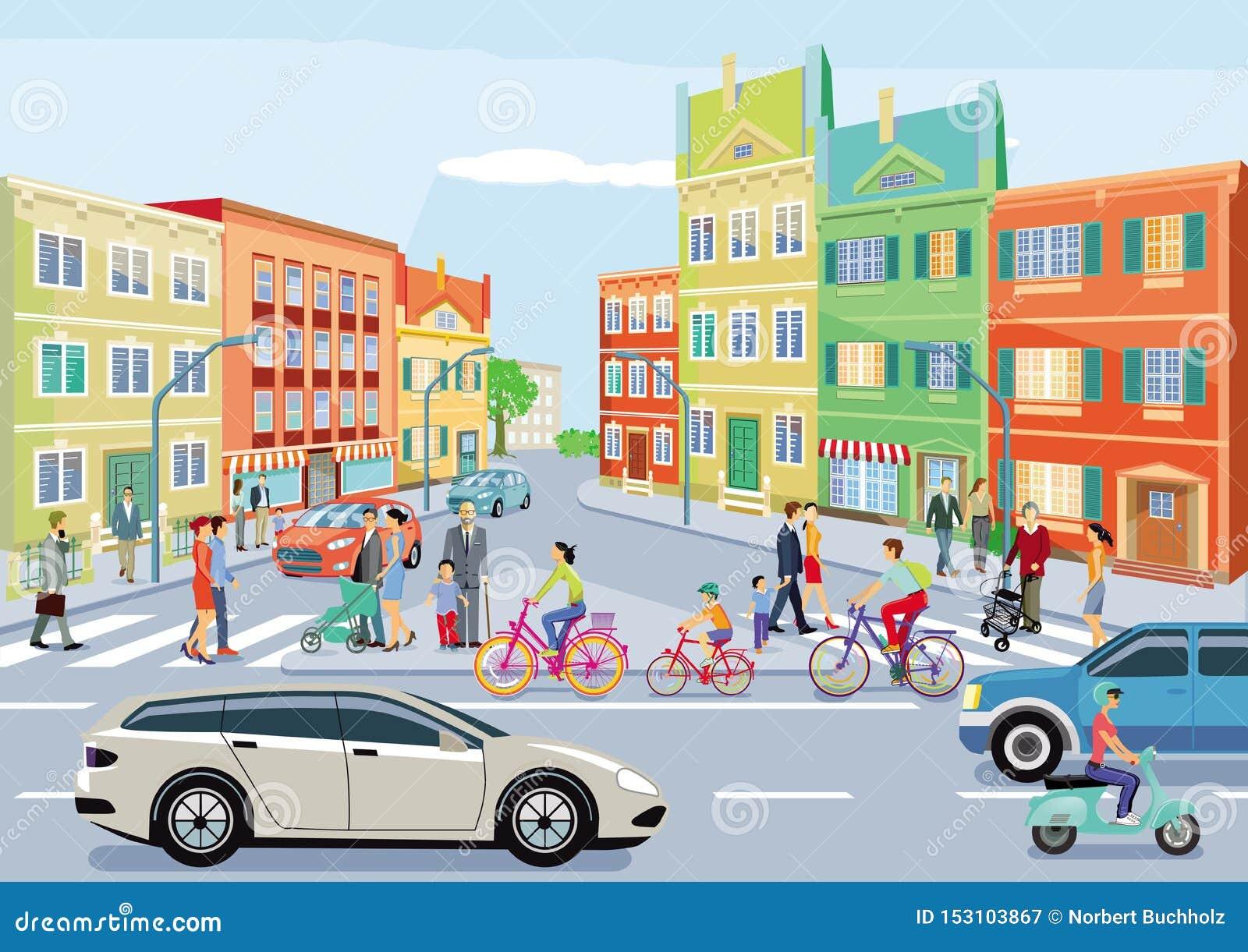 Kleine stad met verkeer en voetgangers