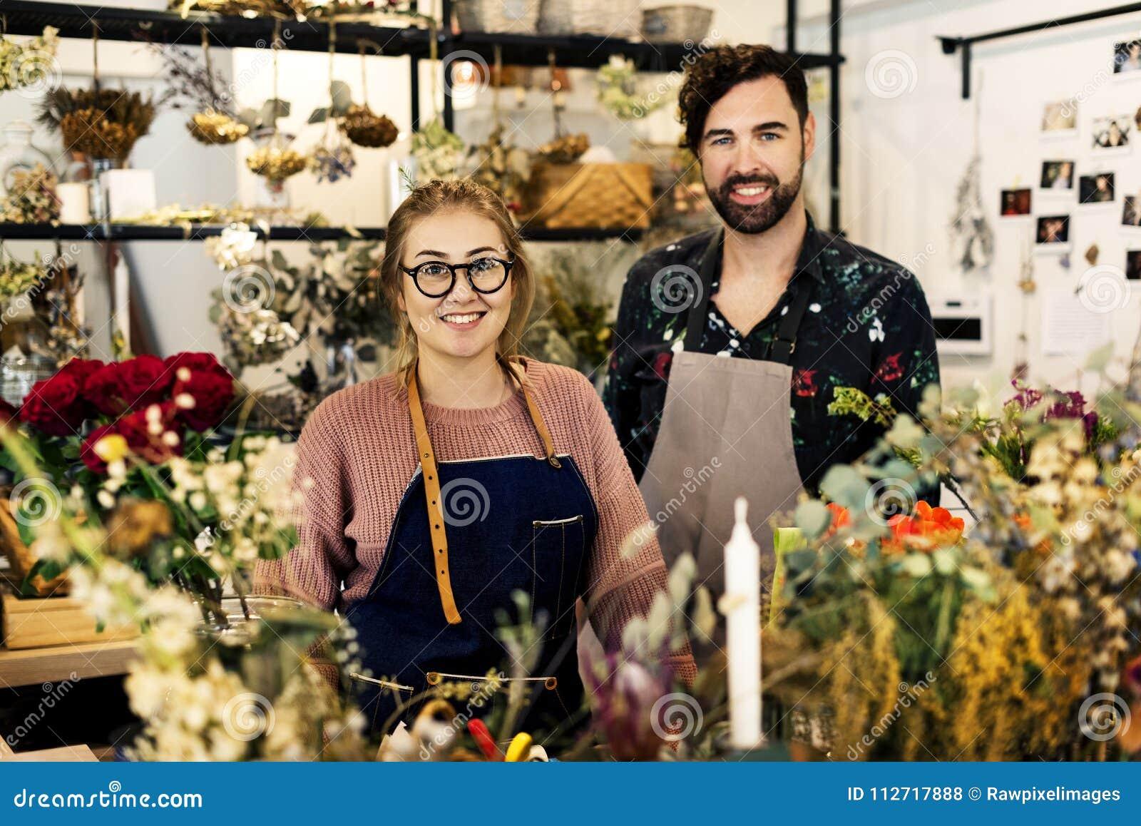 Kleine van de bedrijfs bloemwinkel eigenaars