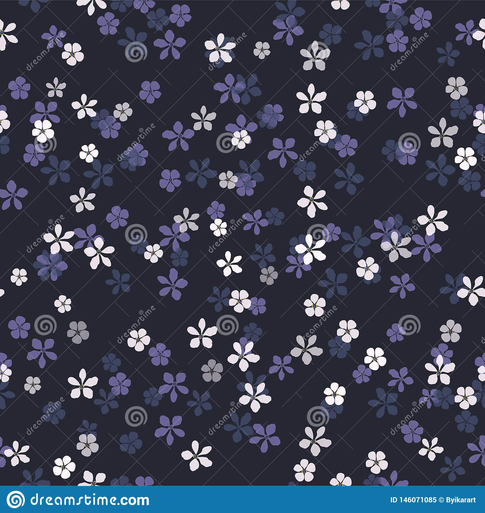 Kleine weiße, blaue und purpurrote Blumen auf Marineblauhintergrund