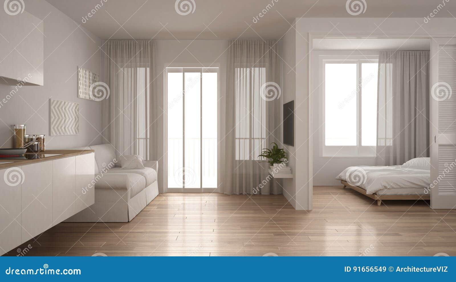 Kleine Wohnung Mit Küche, Wohnzimmer Und Schlafzimmer, Weiße Minute ...